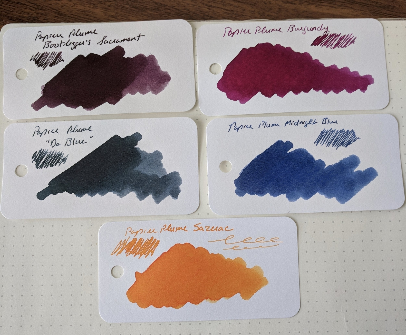 "The lineup of Papier Plume inks that I have in my personal ""ink library."" I'm looking forward to visiting with them at this coming weekend's  Atlanta Pen Show ."