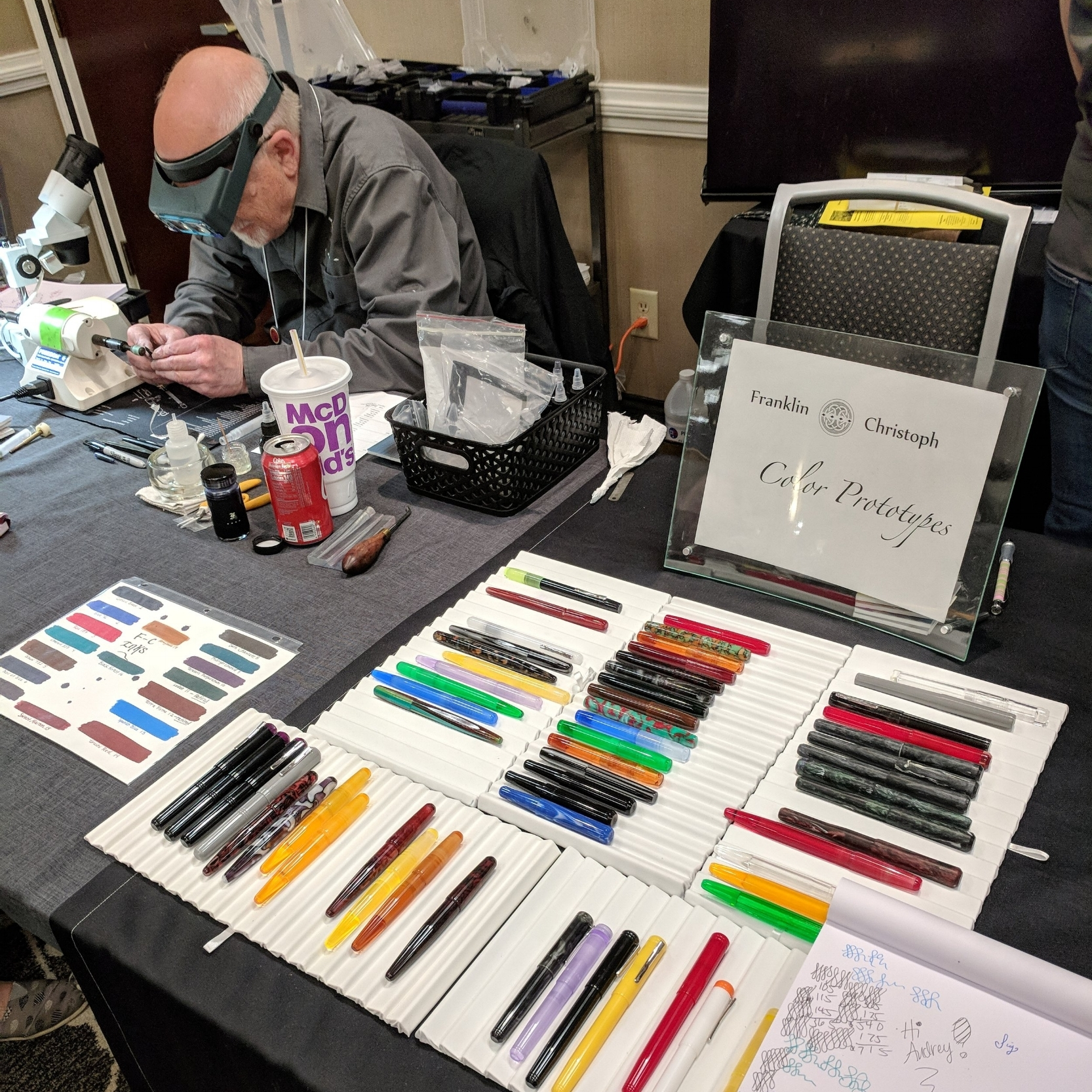 Jim Rouse was at the  Franklin-Christoph  table grinding away, right after the color prototypes were unveiled.