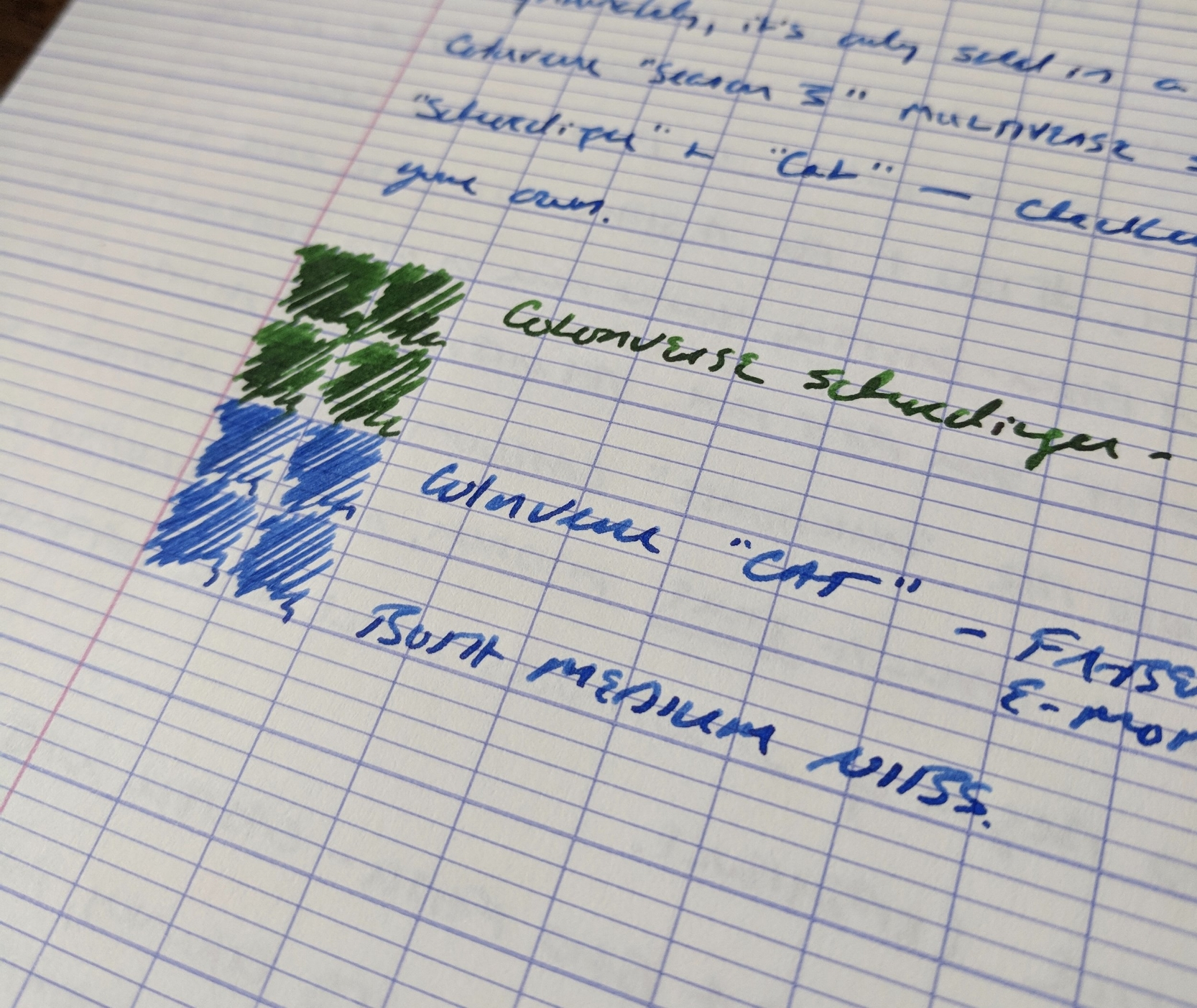 "One thing I like about Colorverse Cat (and most of the Colorverse glistening inks) is that it can pass as a ""normal"" ink for everyday writing. The ""shimmer effect"" is subtle and will likely only be noticeable in very wet nibs, unless you look pretty hard."