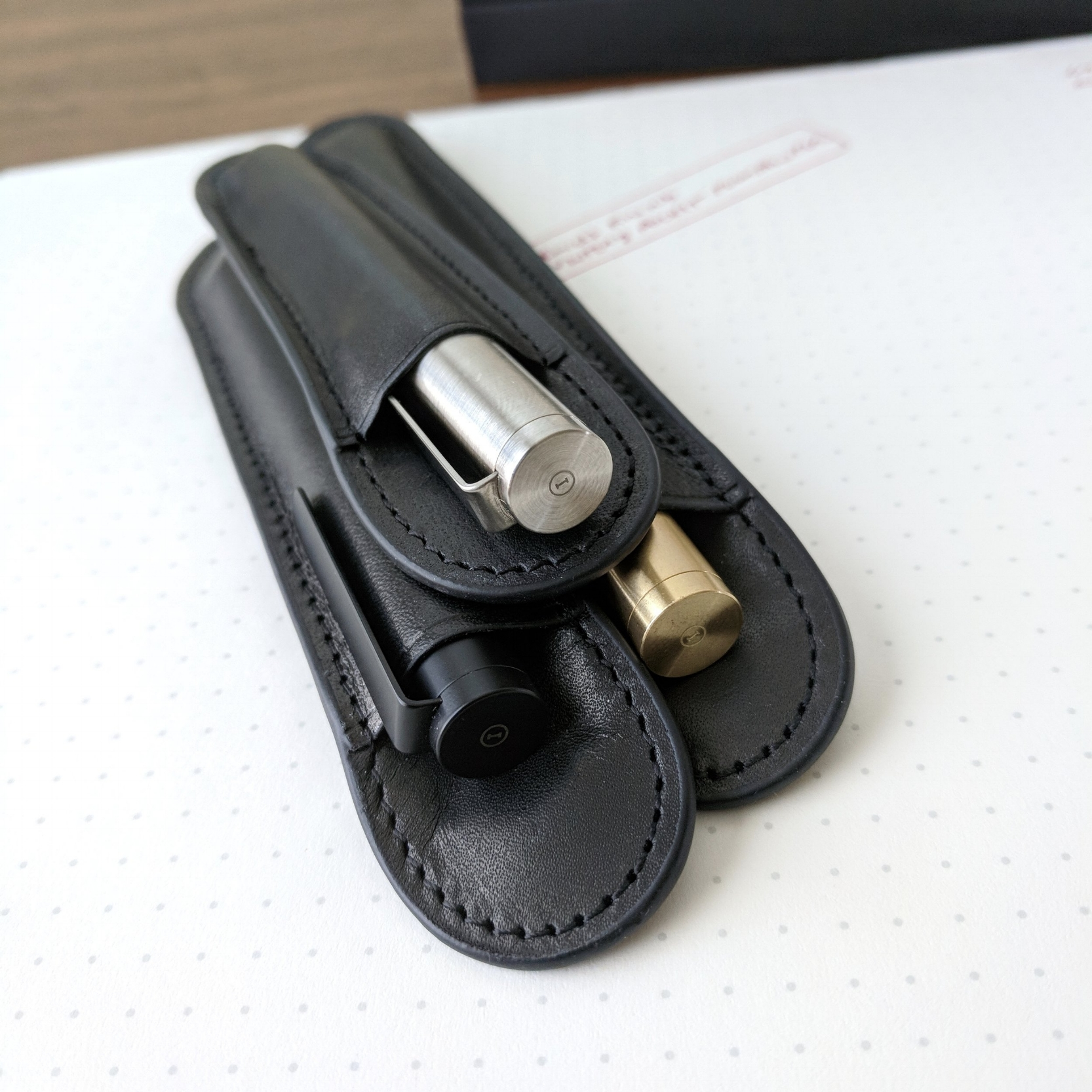 "The pens have minimal branding, and the ""I"" logo on the cap is a nice touch. Don't forget to check out Inventery's line of leather pen sleeves, available in three sizes. (The medium size fits the Mechanical Pen.)"