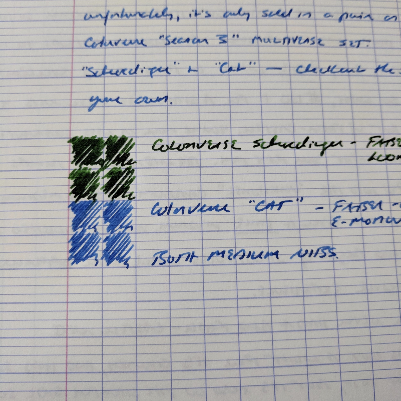 A sample of how I tend to use this paper. Note that my handwriting is not at all consistent.