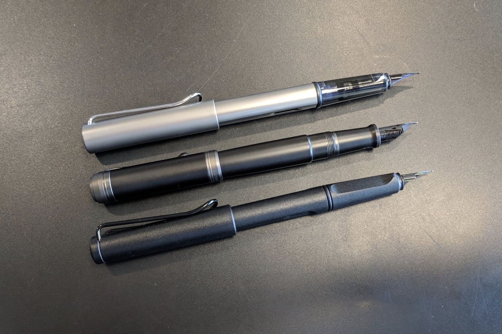 Posted, the Aurora Talentum Black Ops is about the same size as the  Lamy LX/AL-Star  (top) and the  Lamy Safari  (bottom). The Talentum is a bit shorter.
