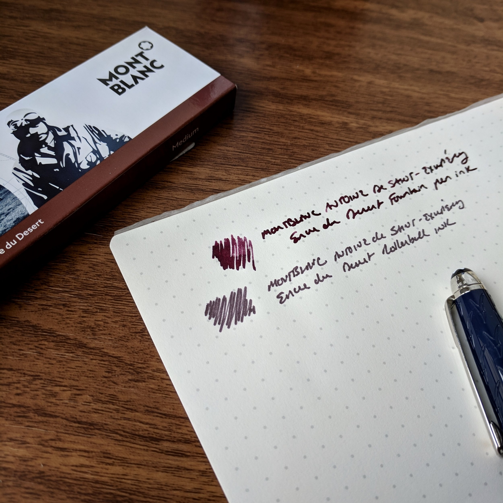 The rollerball refill compared against the fountain pen ink (which I prefer). Review pen:  Montblanc Le Petit Prince Classique Rollerball , courtesy of Appelboom.