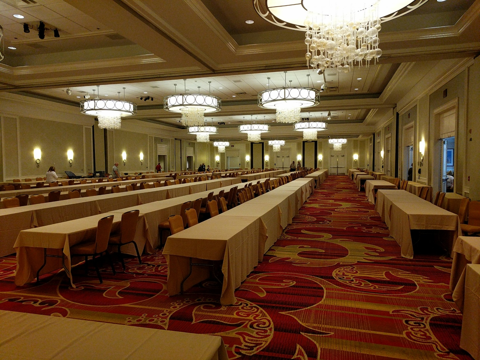 Between today and tomorrow, all of these tables will be filled with pens! And this is just one ballroom...