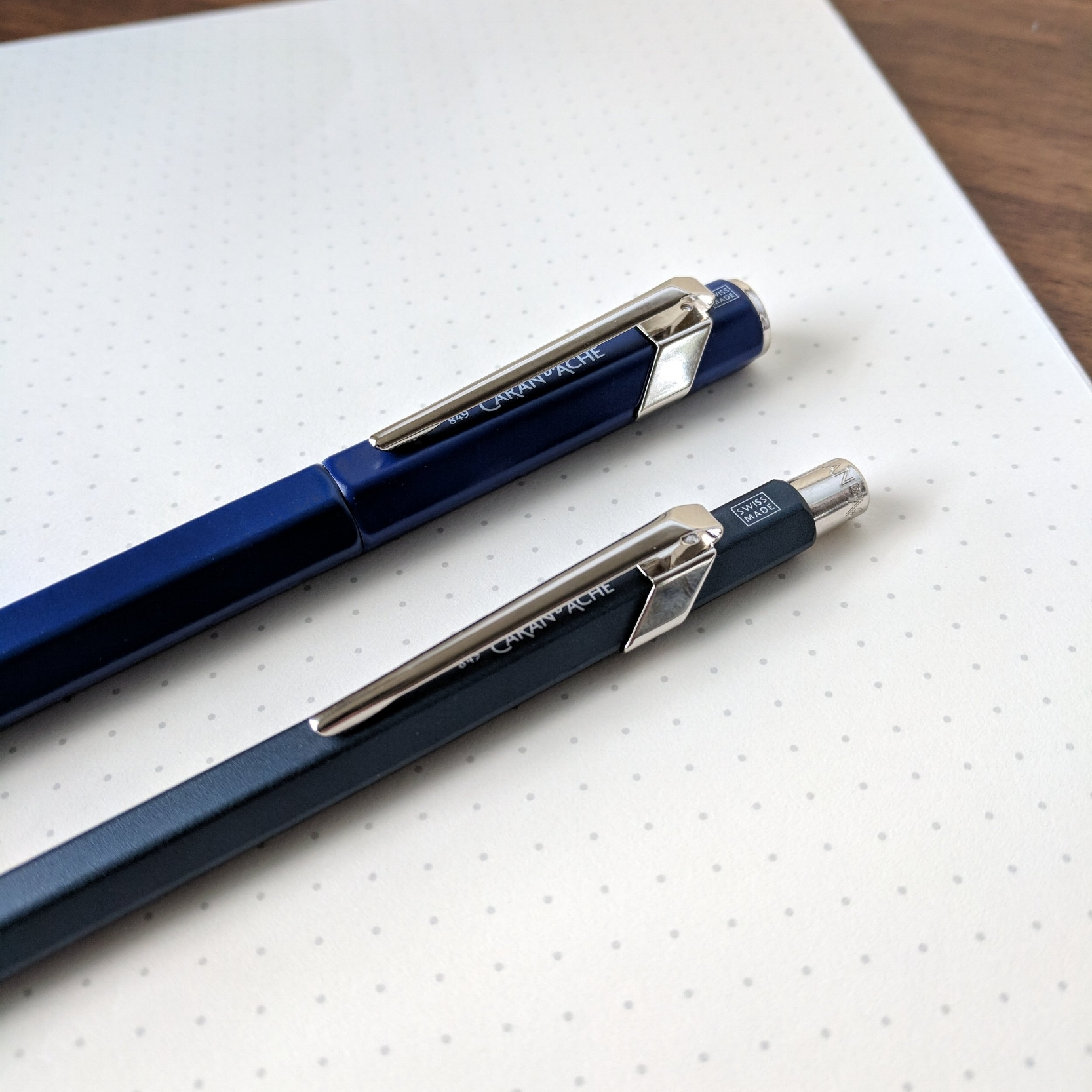 I like the hexagonal barrel on the 849, but for reasons unknown Caran d'Ache has placed the logo underneath the clip. It's quite nice looking, so no need to hide it!