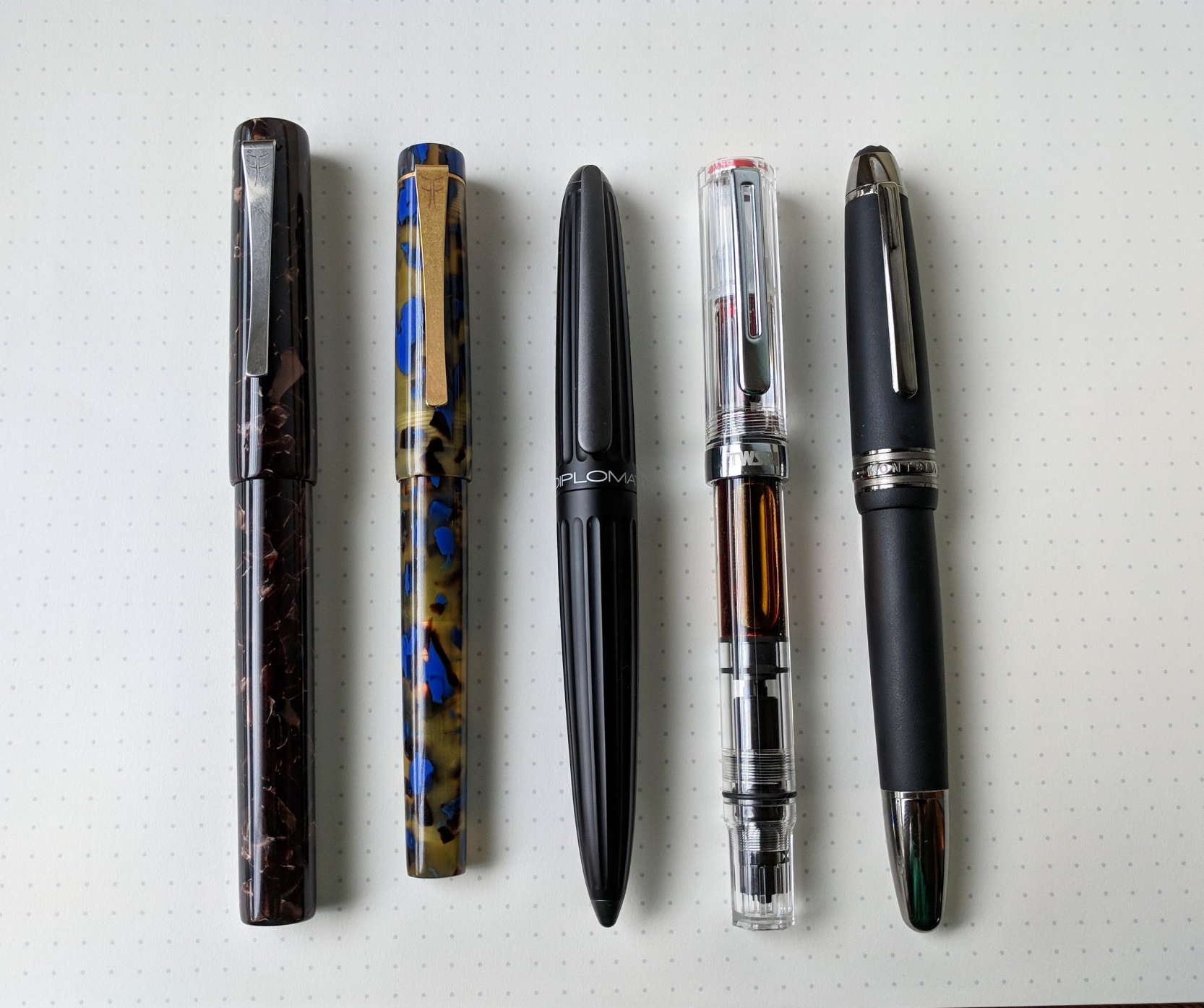 Some of the pens I've been using this week, including, from left, the Faggionato PKS and Petrarque. Link to the review below.