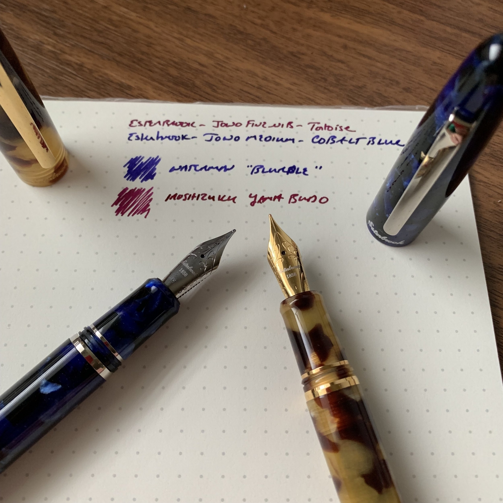 For my two review pens, I chose Esties in Cobalt Blue with chrome trim and Tortoise with gold-plated trim. An ebony model is also available, and you can opt for either trim on any color pen.