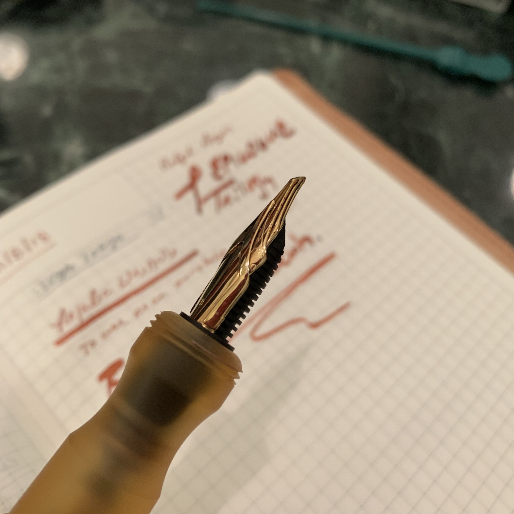 """The Regalia Writing Labs """"Epilogue"""" Nib, on a unique pen from  Kasama  in the Philippines that Dan obtained courtesy of Leigh Reyes."""