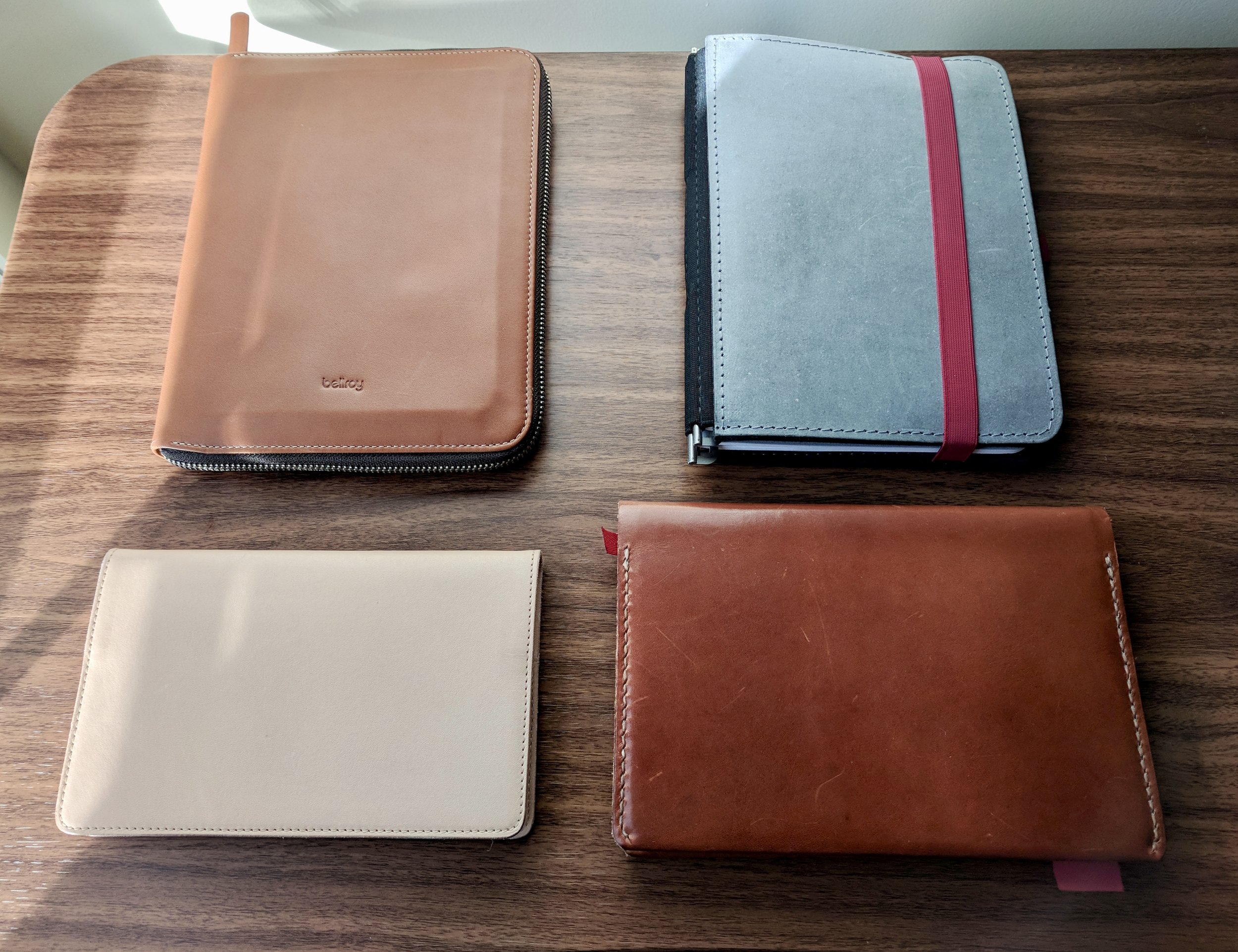 Of  the four items I started carrying at the beginning of 2018 , only two stuck (the  Nanami Paper Cafe Note , bottom left, and the Baron Fig Confidant with  One Star Leather Cover , bottom right).