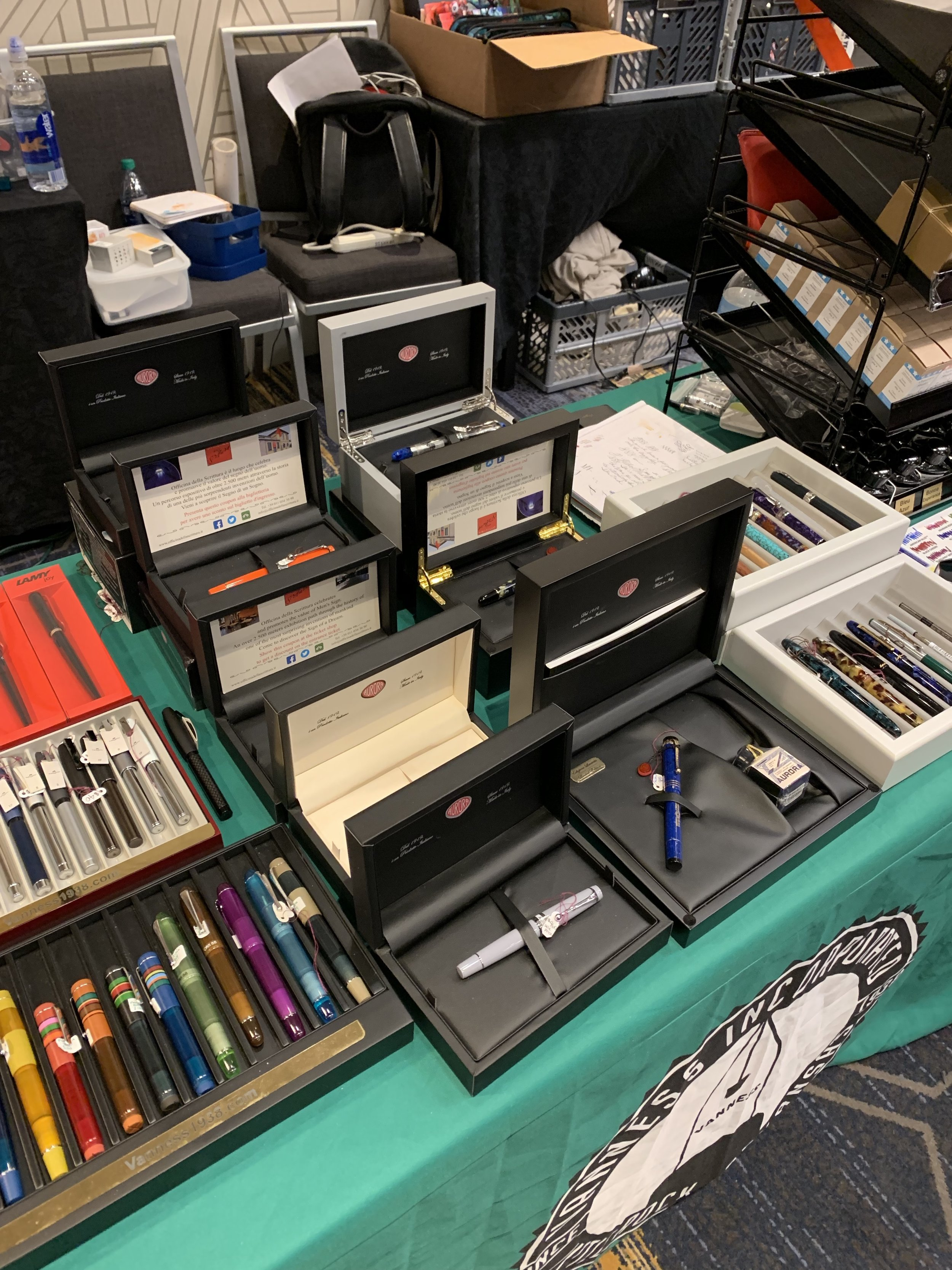 Vanness brought all sorts of Aurora pens to the show, including the last of the Minerali demonstrators, Optima Flex Pens, and some new limited editions!