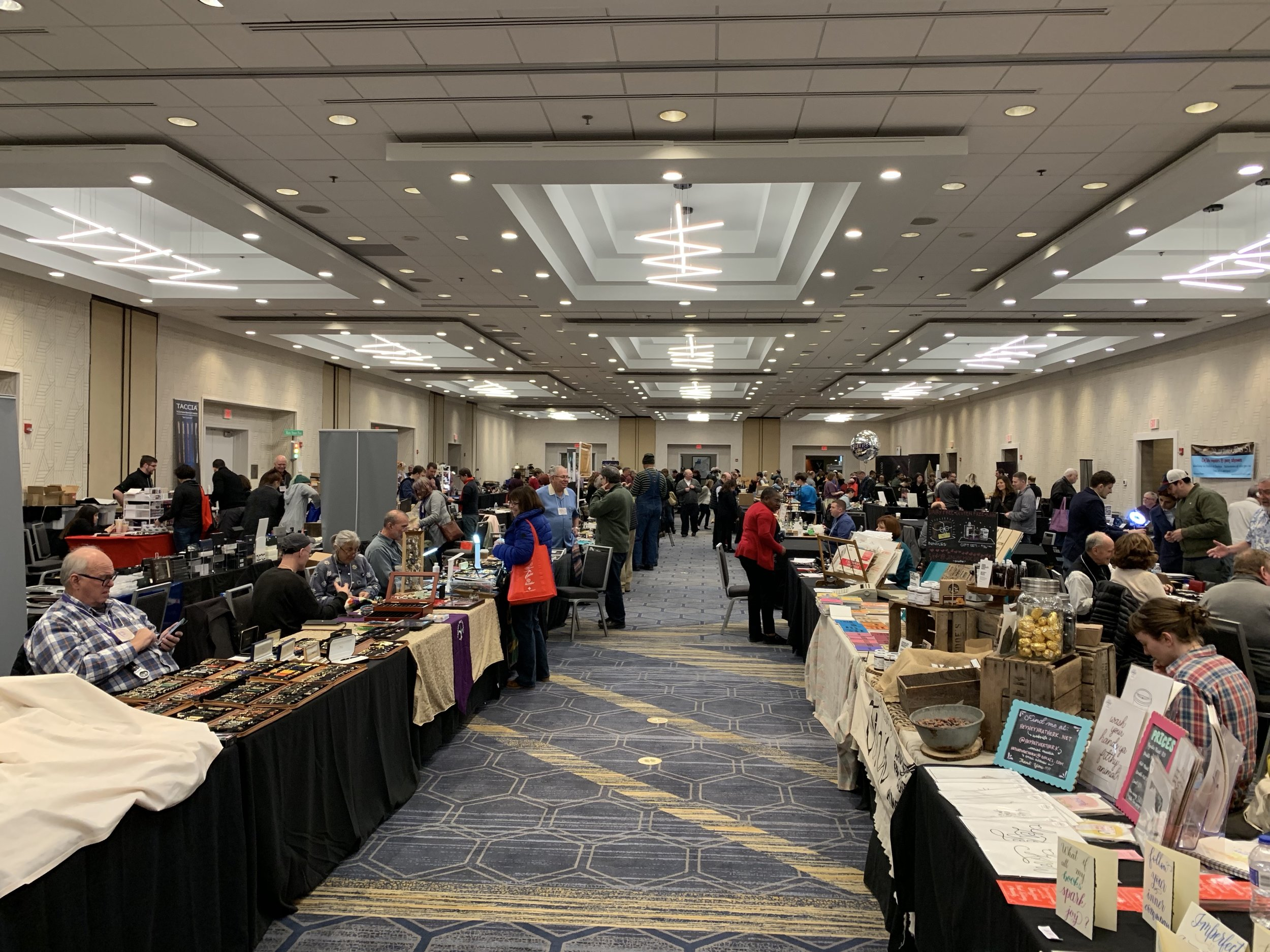 The Baltimore Pen Show ballroom from the back looking forward, early on Sunday morning. Note to other pen show organizers: wide aisles + good light + air conditioning = happy everybody.