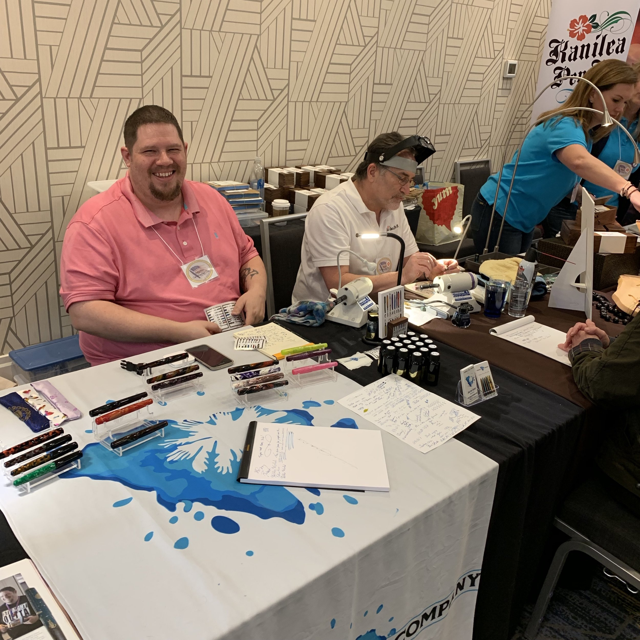 Jonathon Brooks was next to Hugh Scher of the Kanilea Pen Company all weekend. You could lose a lot of money in that corner!