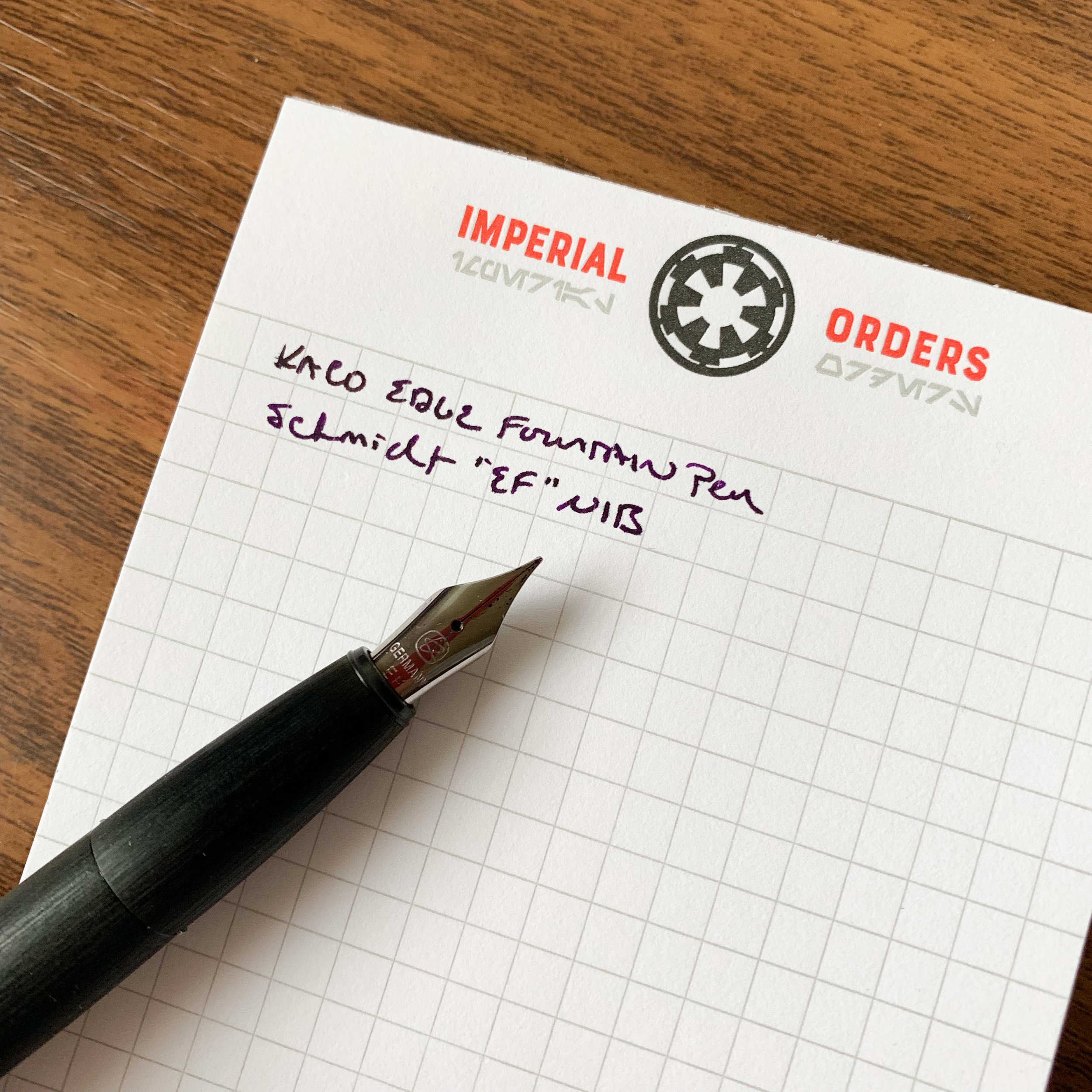 "Like any good German steel nib, the Schmidt ""EF"" writes a broader line that you would expect from an ""extra fine"" nib. It's more like a standard fine, or even some mediums. (The ""Imperial Orders"" pad is another Skylab Letterpress creation, available from either  Skylab directly  or from  the Well-Appointed Desk shop! )"