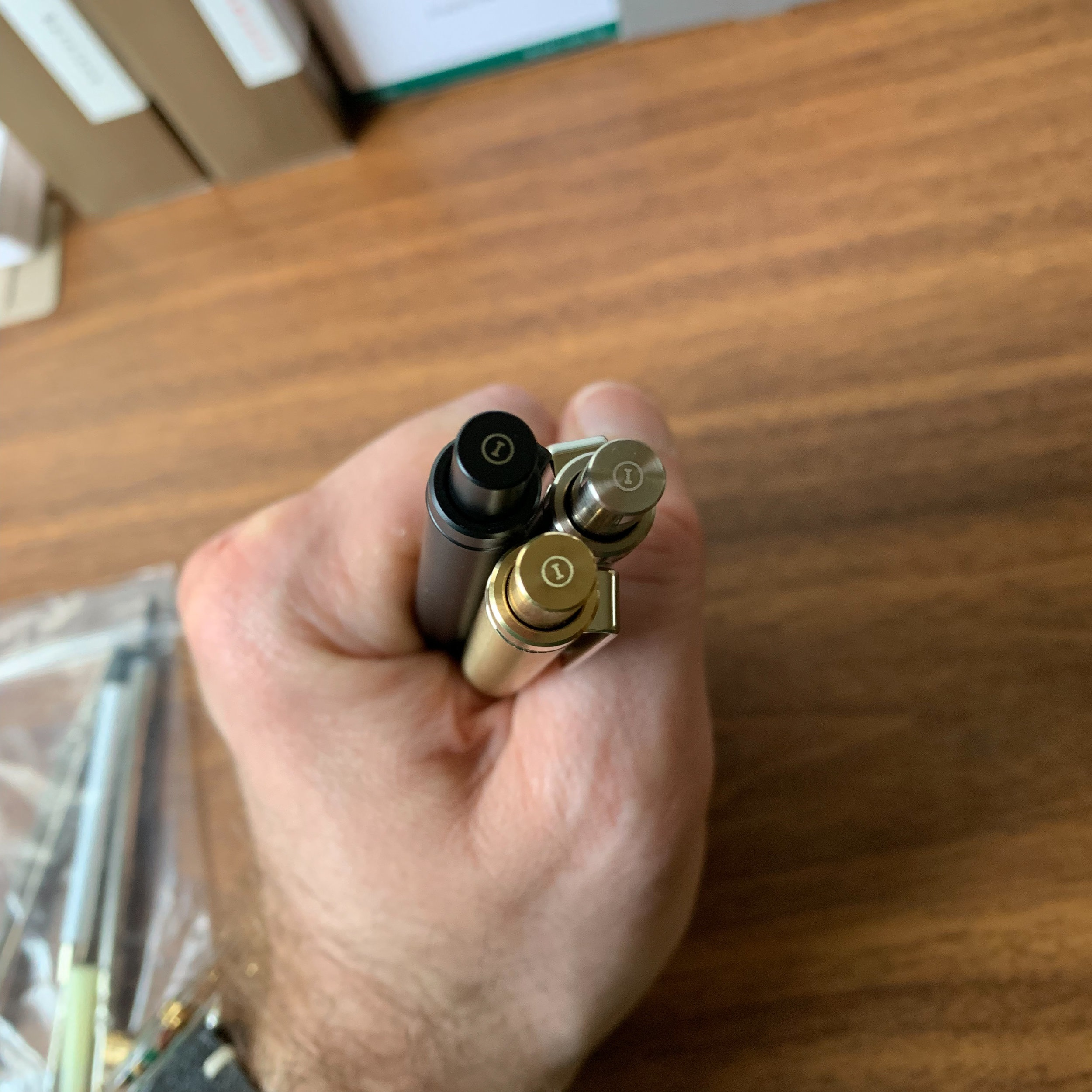 """Like Inventery's other products, each Mechanical Pen/Pencil is engraved with the """"I"""" logo on the top of the knock. And, as with Inventery's other products, the Interchangeable Pen/Pencil is available in three finishes: brass, brass with a black oxide coating, and brass with a nickel coating."""