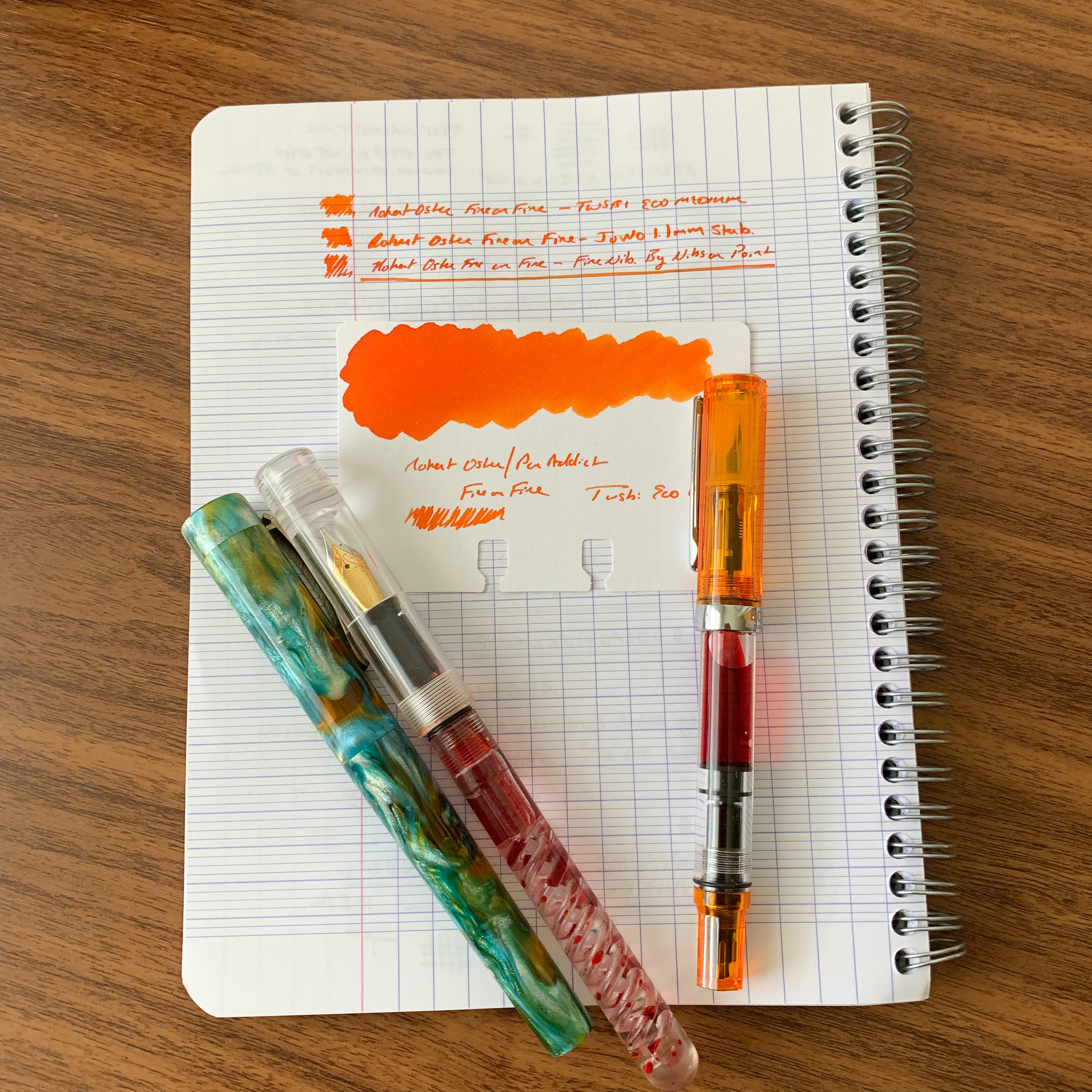 Tested in three pens: From left,  Kanilea Pen Company Hanauma Bay  with a fine nib from  Nibs on Point ; a JoWo 1.1mm Stub in an  Additive Pens Double Helix Eyedropper , and the TWSBI Eco Transparent Orange pictured here.