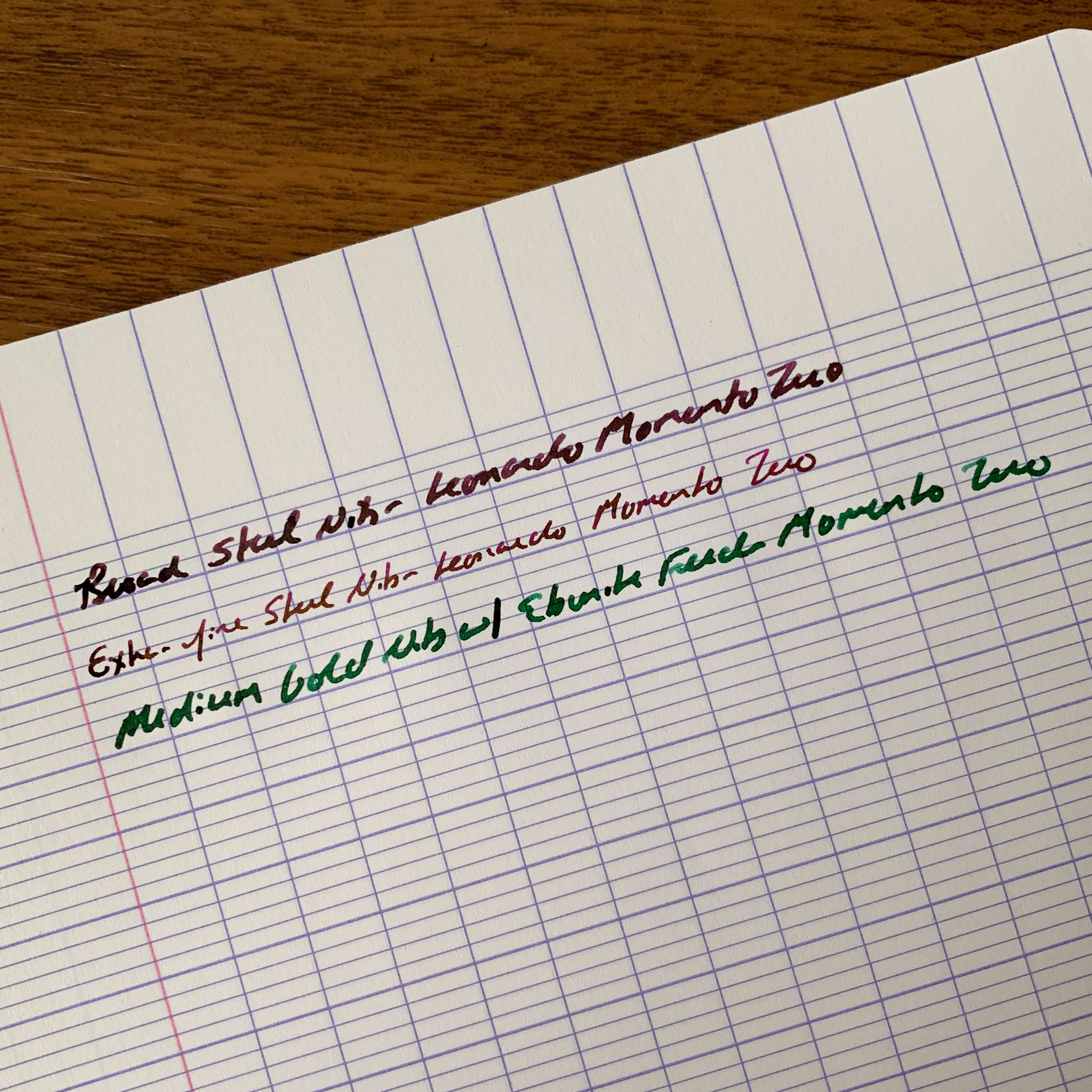 A writing sample from three of my pens. Compare the line width from the broad and extra fine steel nibs to the medium gold. The combination of a gold nib and an ebonite feed makes the pen a very wet writer, which is nice to have, but may affect the choice of someone looking to use this particular pen as a daily writer.