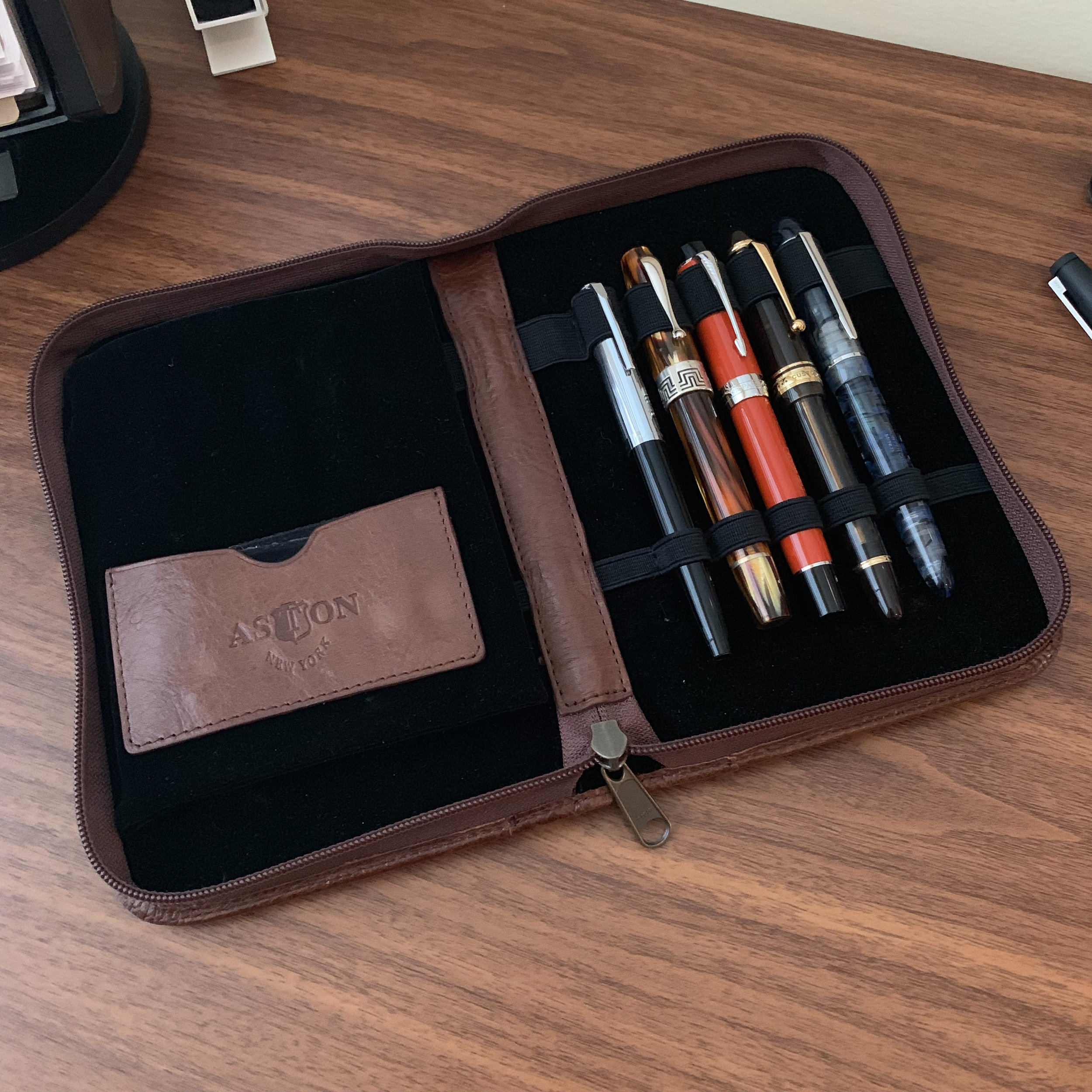Aston Leather 10 Pen Case Open with Protective Insert
