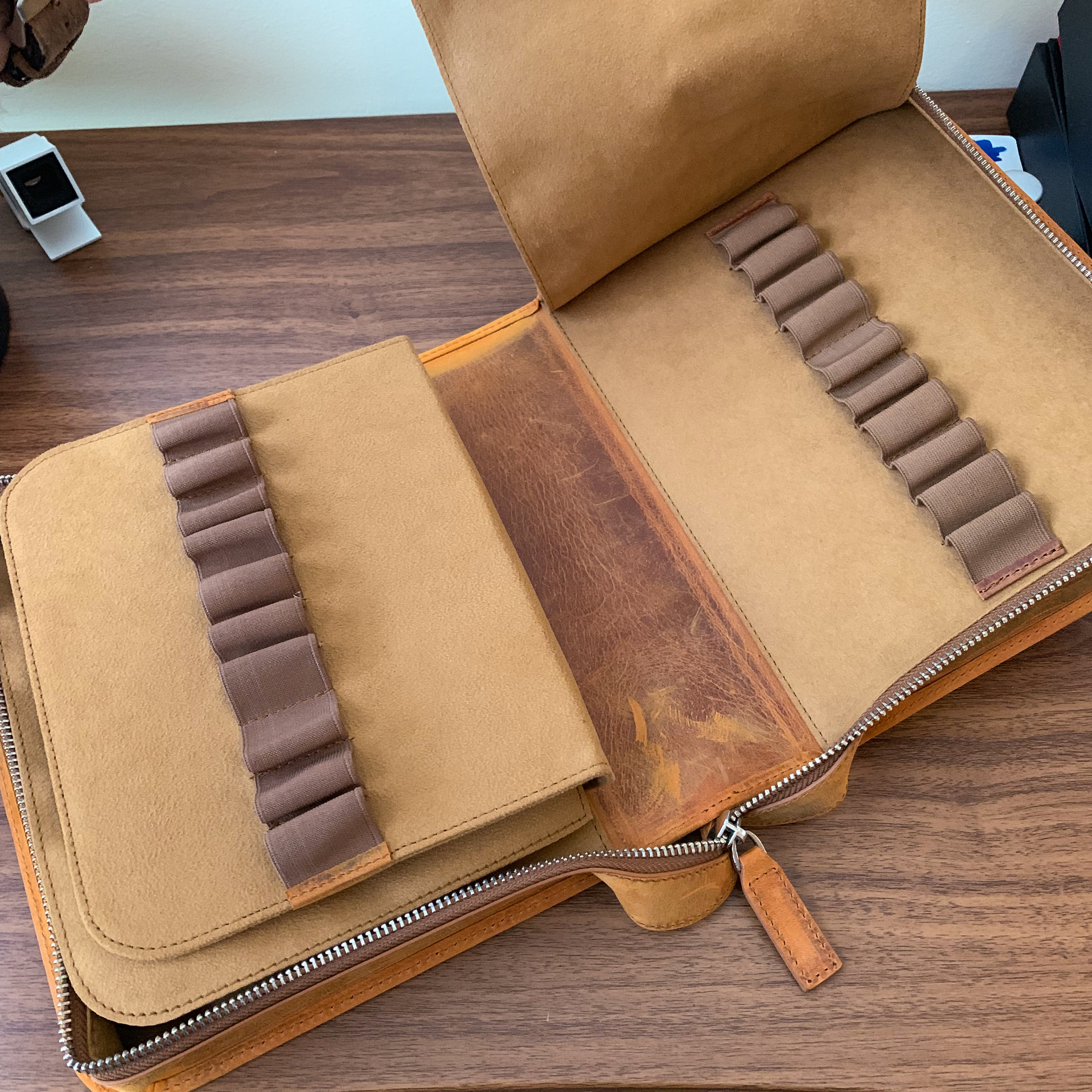 Galen Leather Zippered Case Open (Empty Slots)