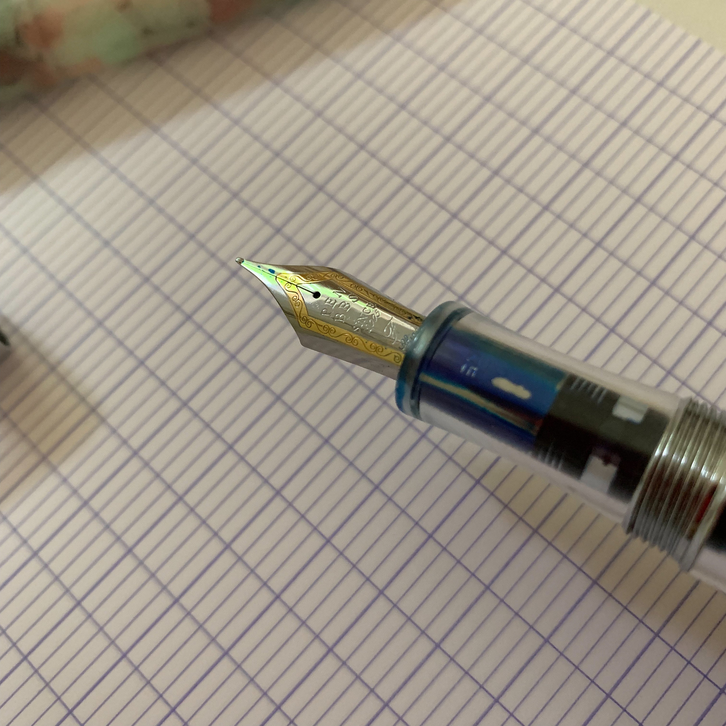 The two-toned PenBBS nib is also Chinese-made, to the best of my knowledge, and came perfectly tuned. Here is a shot of the engraving.