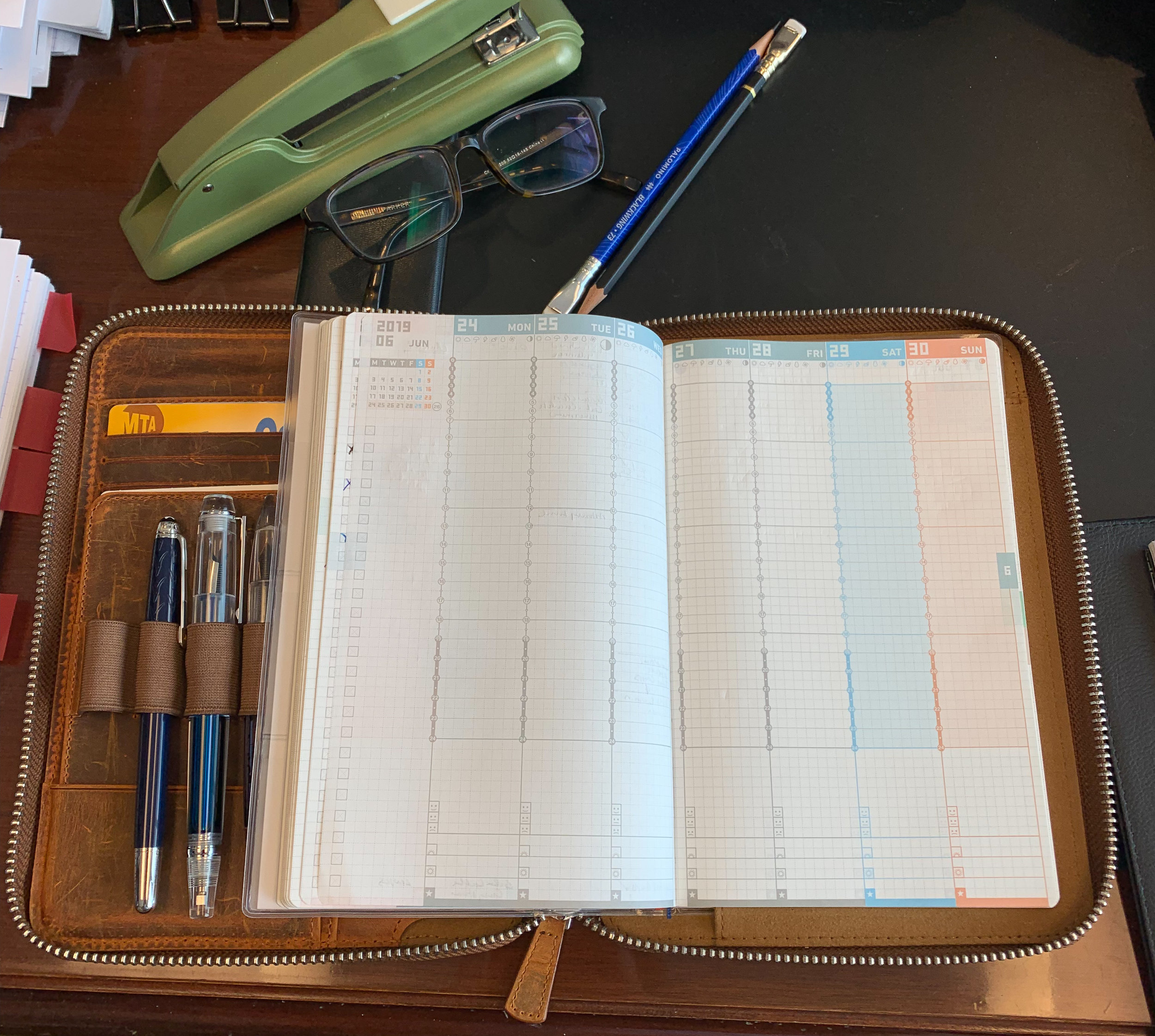 Zipfolio with the Jibun Techo open to the week-on-two-pages layout. This has been my go-to carry for work over the past few weeks.