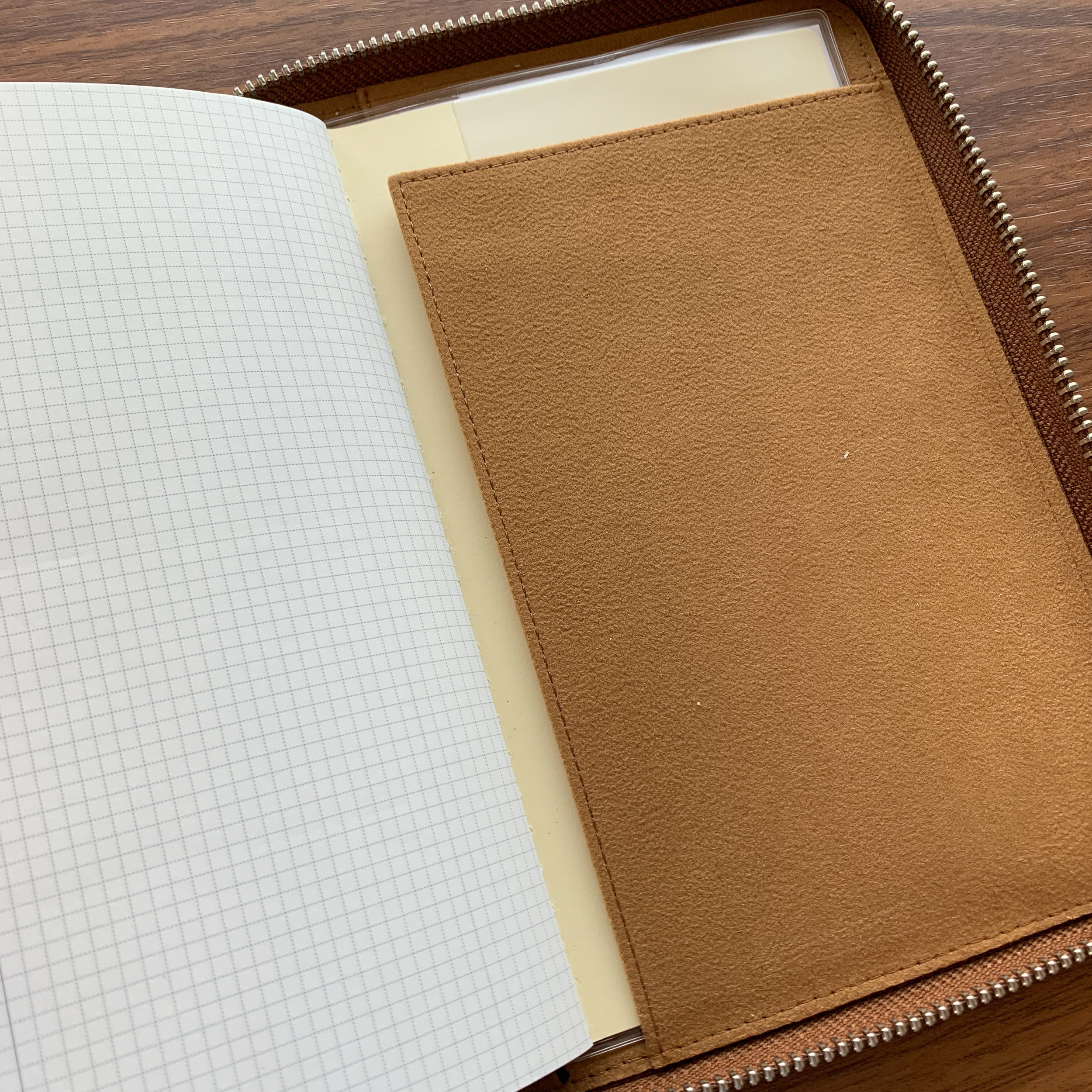 Notebooks are easy to switch out. The back of the Zipfolio contains a soft leather flap, under which you insert the back cover of your notebook.