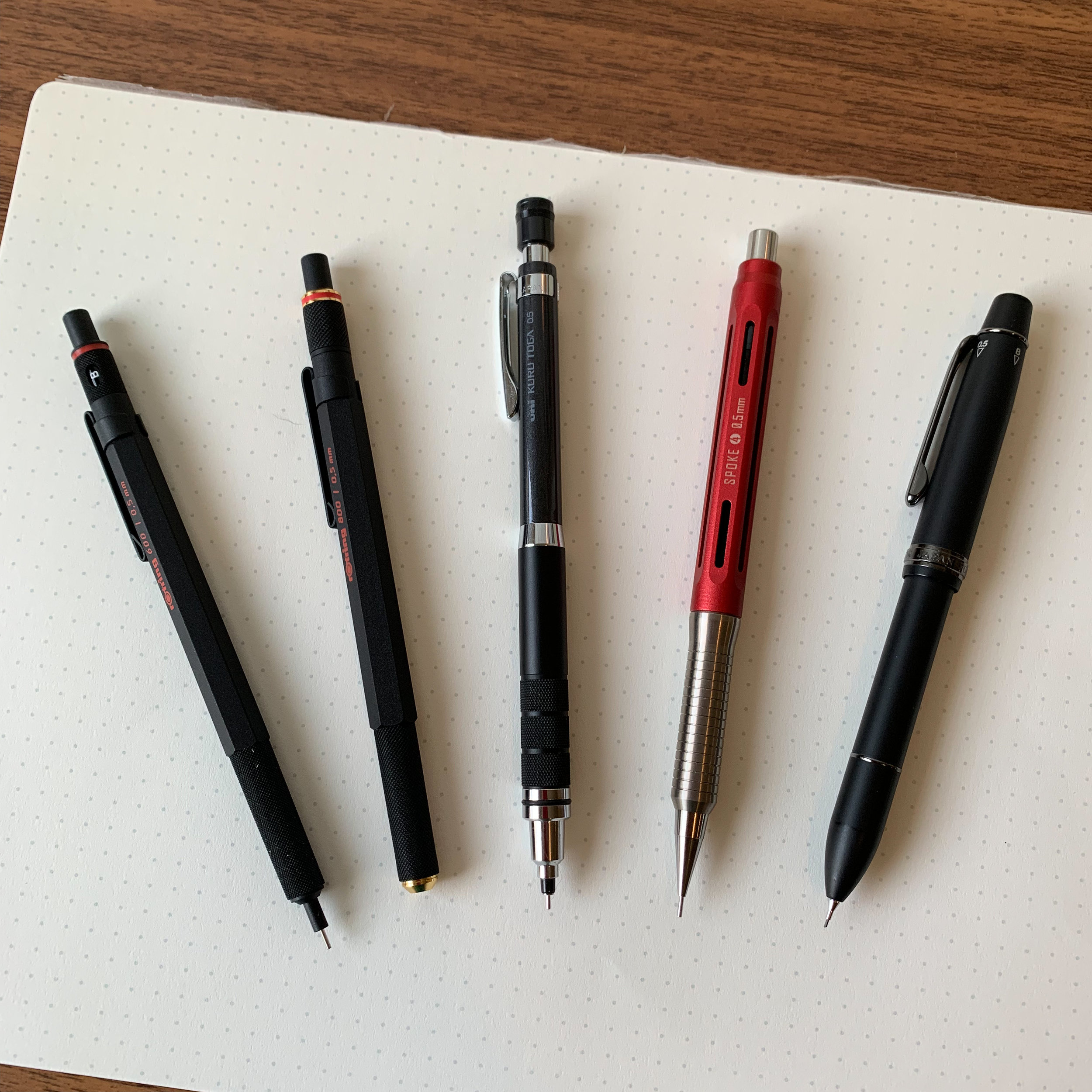 From left: Rotring 600, Rotring 800, Uni Kuru Toga Roulette, Spoke Pencil Version 4, and Sailor Imperial Black Multi Pen.