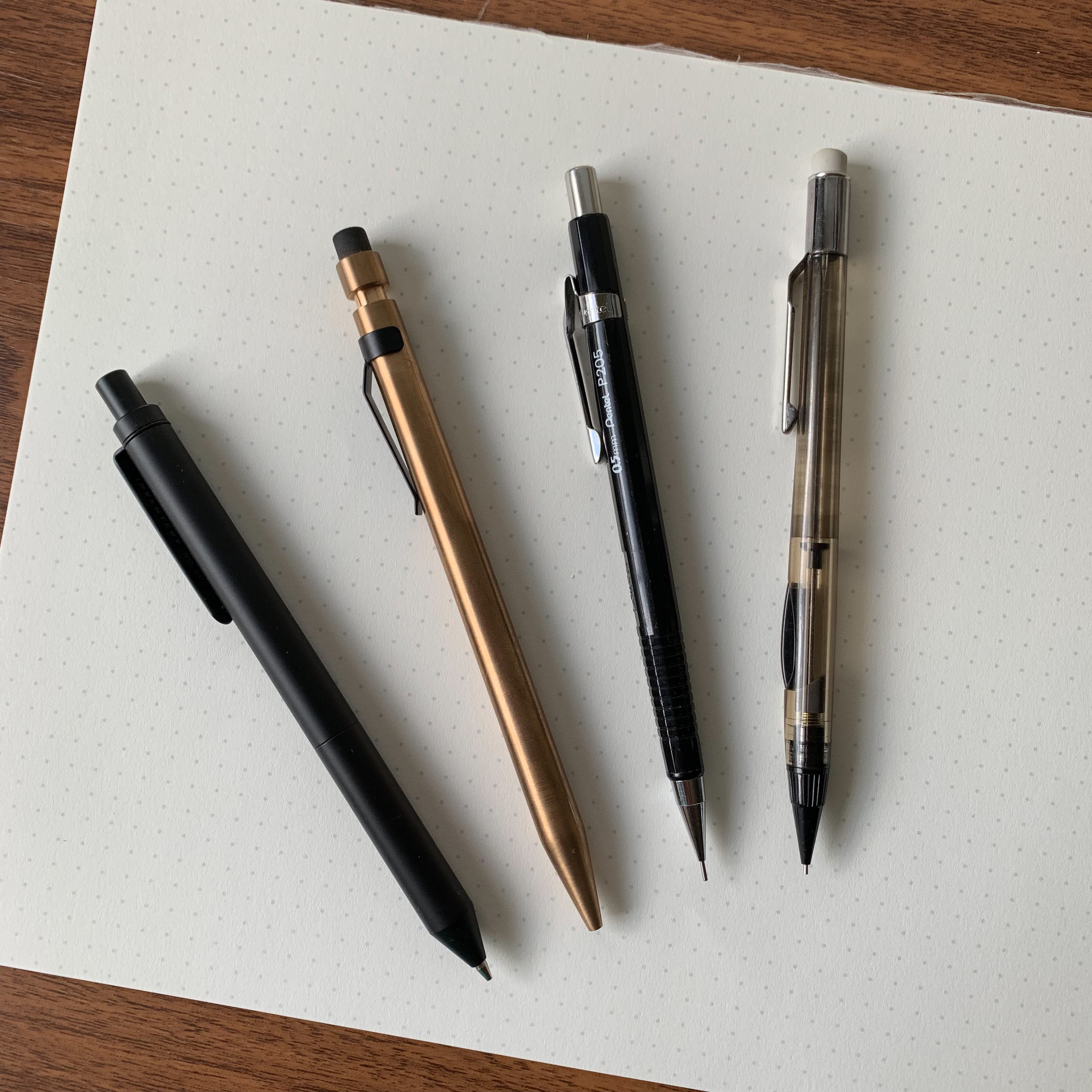 Honorable mention, from left: Inventery Interchangeable Mechanical Pen/Pencil; Modern Fuel Mechanical Pencil; Pentel Sharp, and mid-1990s era Pentel Quicker Clicker (which has somehow survived 25+ years of solid use).