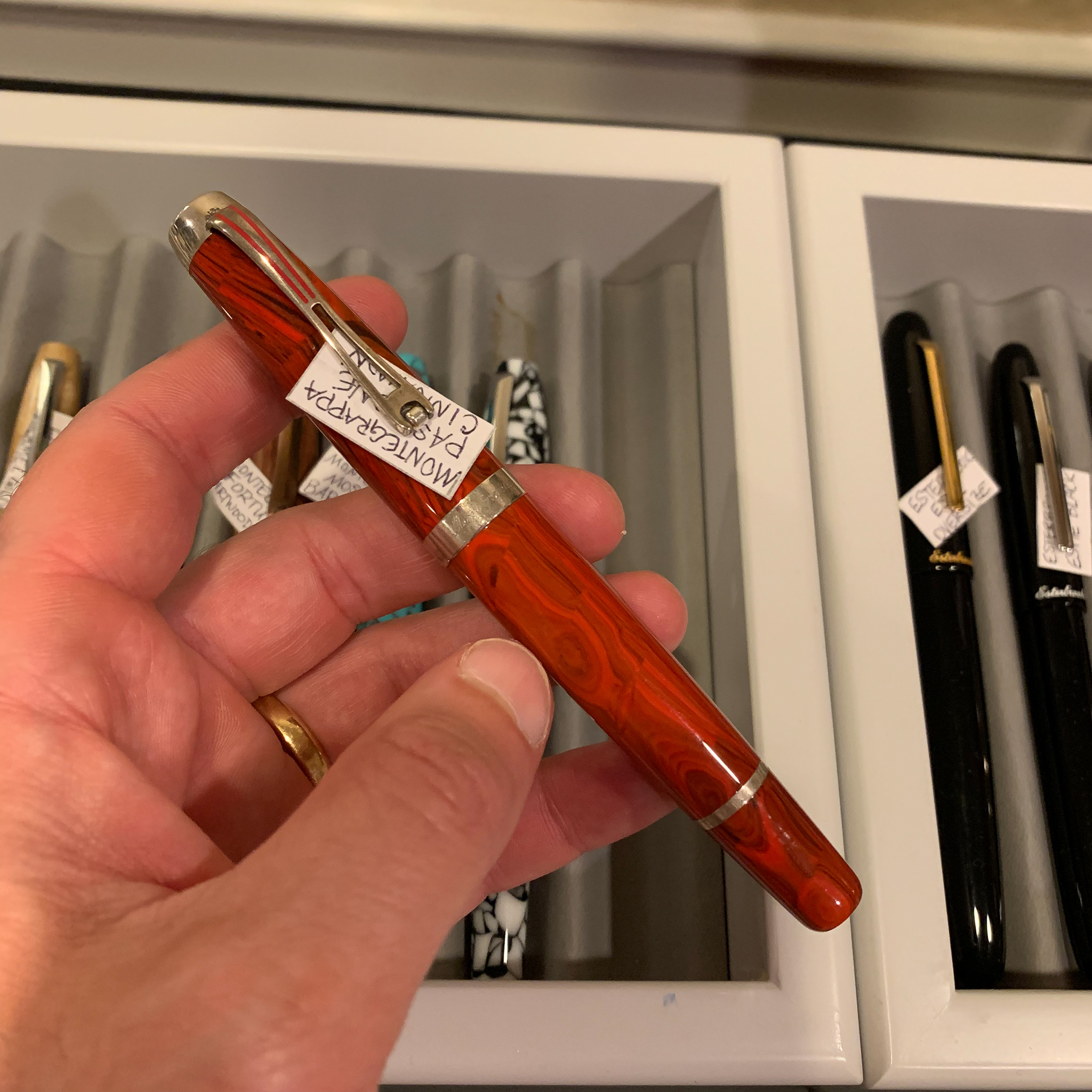 As you know, I'm behind the  Vanness Pens  table all weekend, and while our stock of ink and paper is somewhat depleted, Sunday is a great day to get a good deal on a pen, like this discontinued  Montegrappa Passione  that has been sitting in front of me calling my name for two days straight. Someone come buy this pen before I do! You may remember that I reviewed this exact model/color combination a while back.