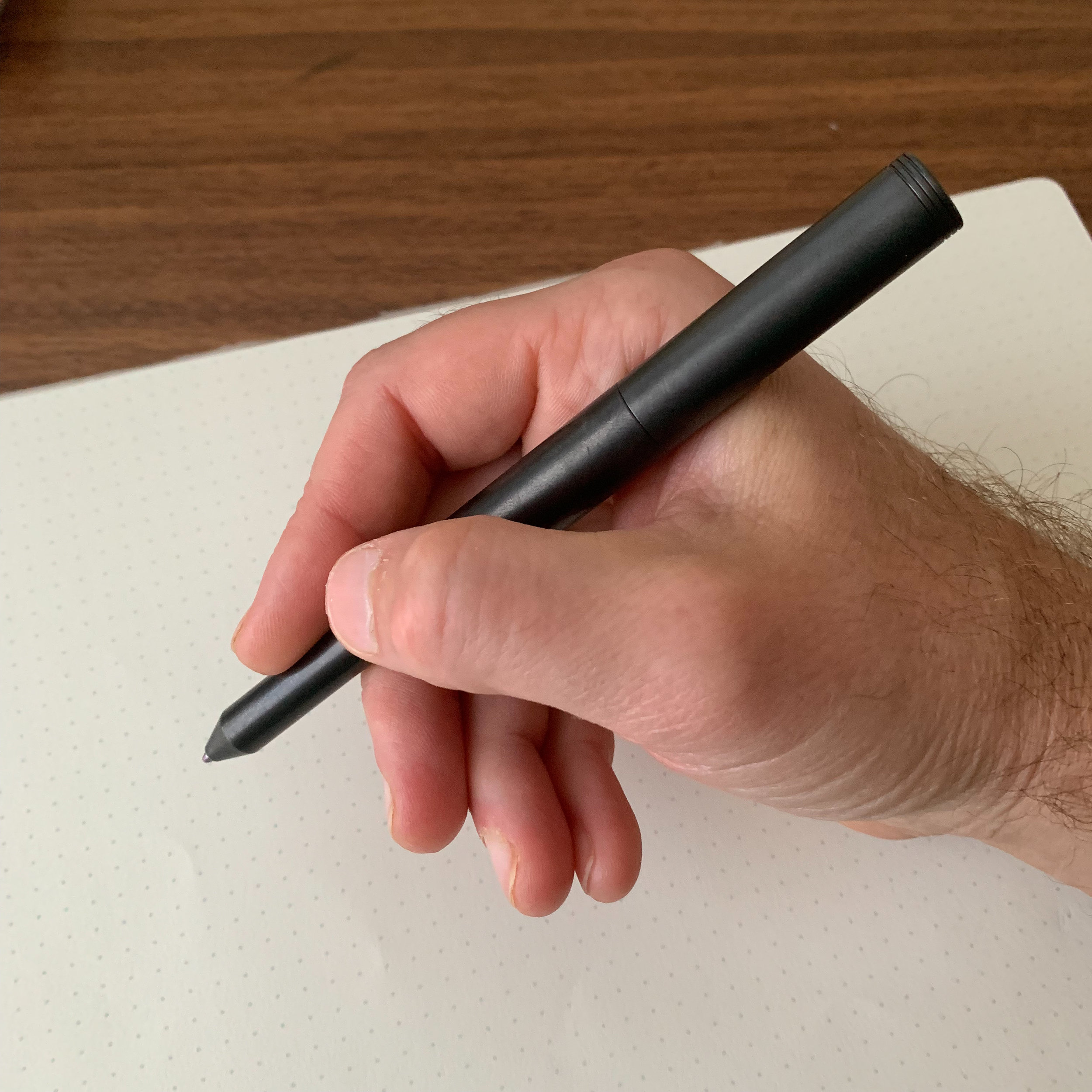 The Schon DSGN Classic posted. Since the pen is well balanced and the cap threads on the back, I have no issues posting this one. Those with smaller hands may find it too back-weighted to use comfortably posted.