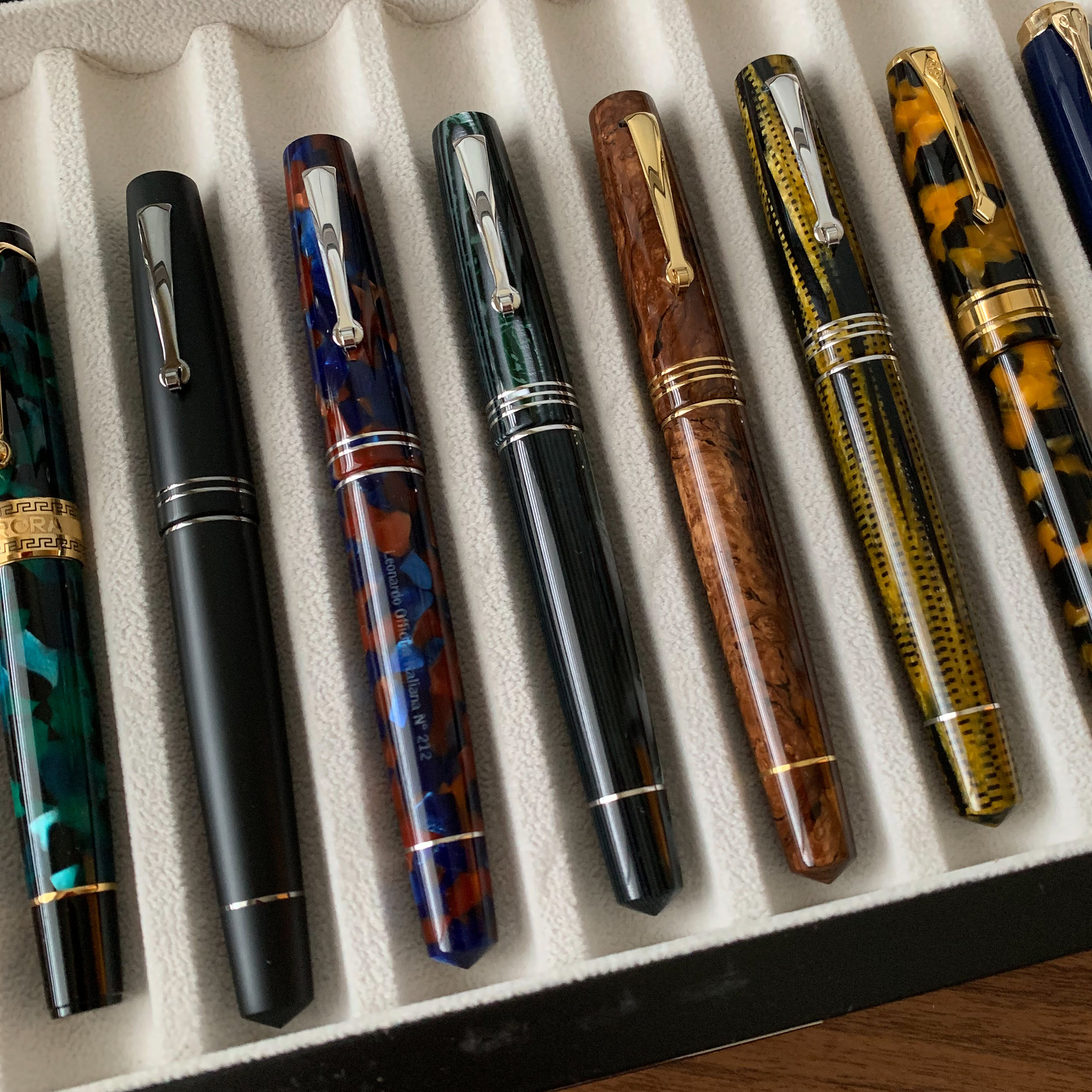 "A few of the other Leonardo Momento Zero pens in my collection, including three from  the high-end ""Maestro"" set  made available last year."
