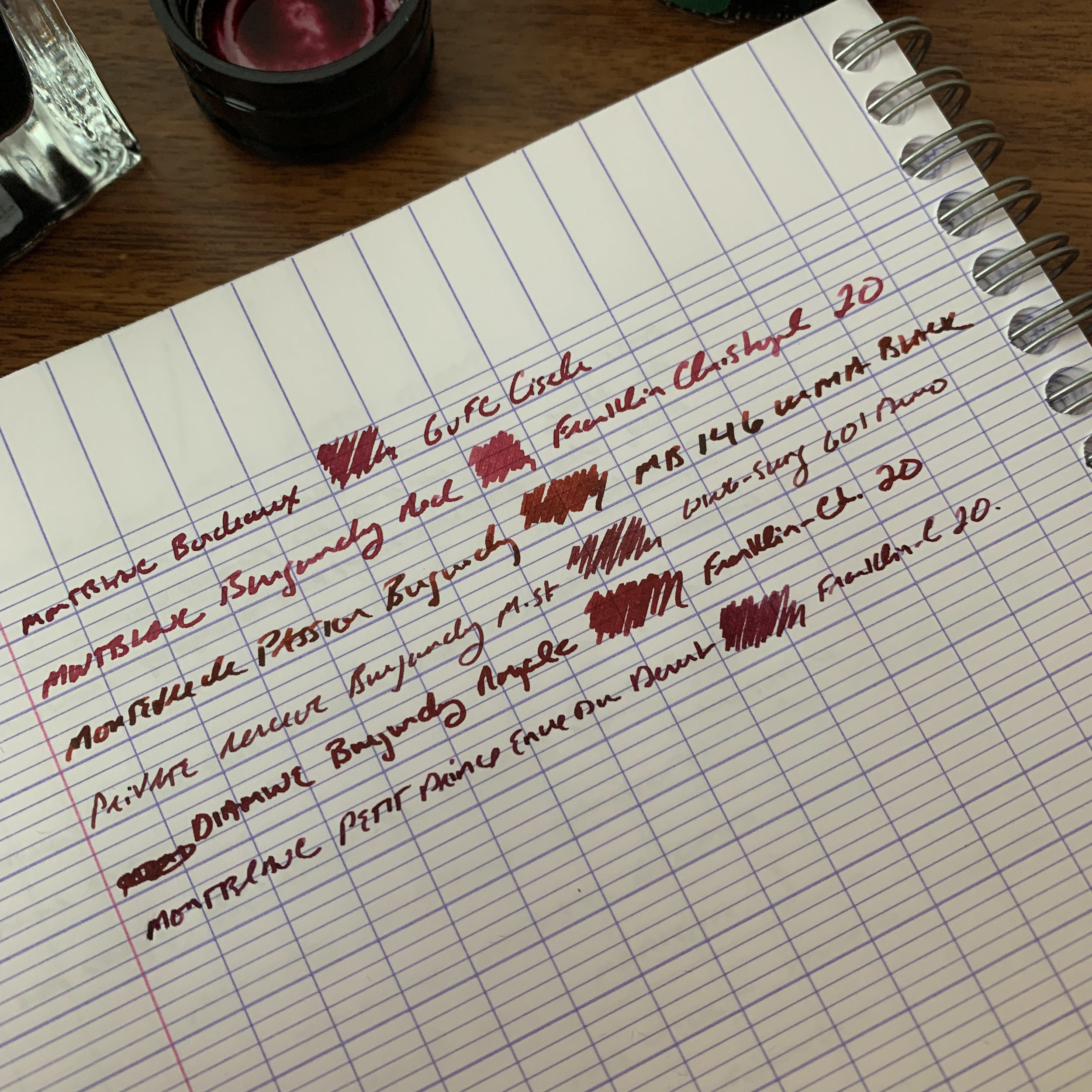 Out of these inks, I would rank my favorites as follows: (1) Montblanc Bordeaux; (2) Monteverde Passion Burgundy; (3) Montblanc Encre du Desert Le Petit Prince (4) Diamine Burgundy Royale; (5) Montblanc Burgundy Red; and (6) Private Reserve Burgundy Mist. All of these inks are excellent, and lean towards the red end of the spectrum rather than