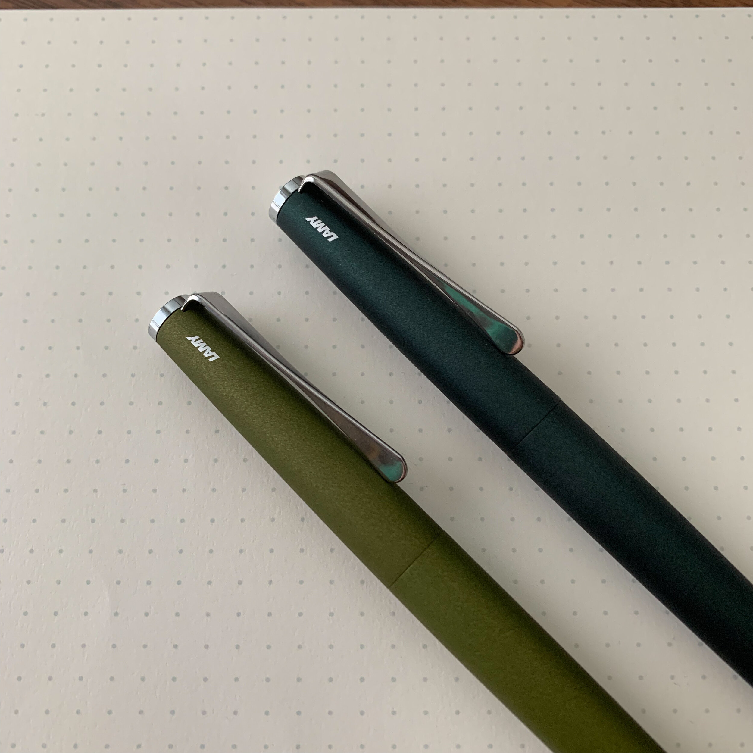 If you like dark green pens, the Lamy Studio has you covered. Shown here are the Olive Green (left) and Racing Green (right). Not pictured is my LX All Black, which is en route from the Netherlands as we speak.