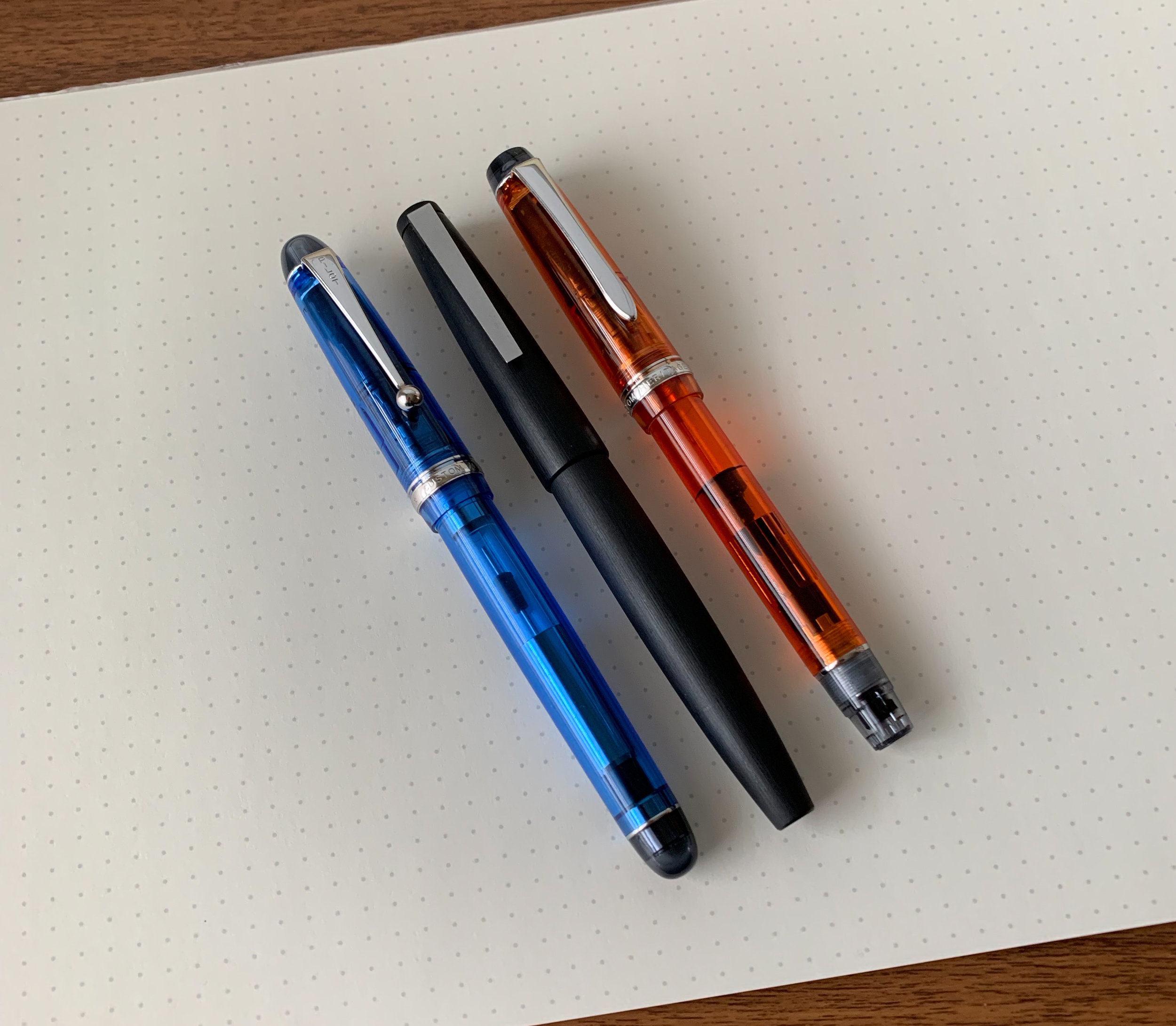 Piston fillers or cartridge-converters? Again, you have multiple options, and the best choice for a daily writer depends on how often you need to refill, and the most convenient option for refilling on the go. From left, the Pilot Custom 74, Lamy 2000, and Pilot Custom Heritage.