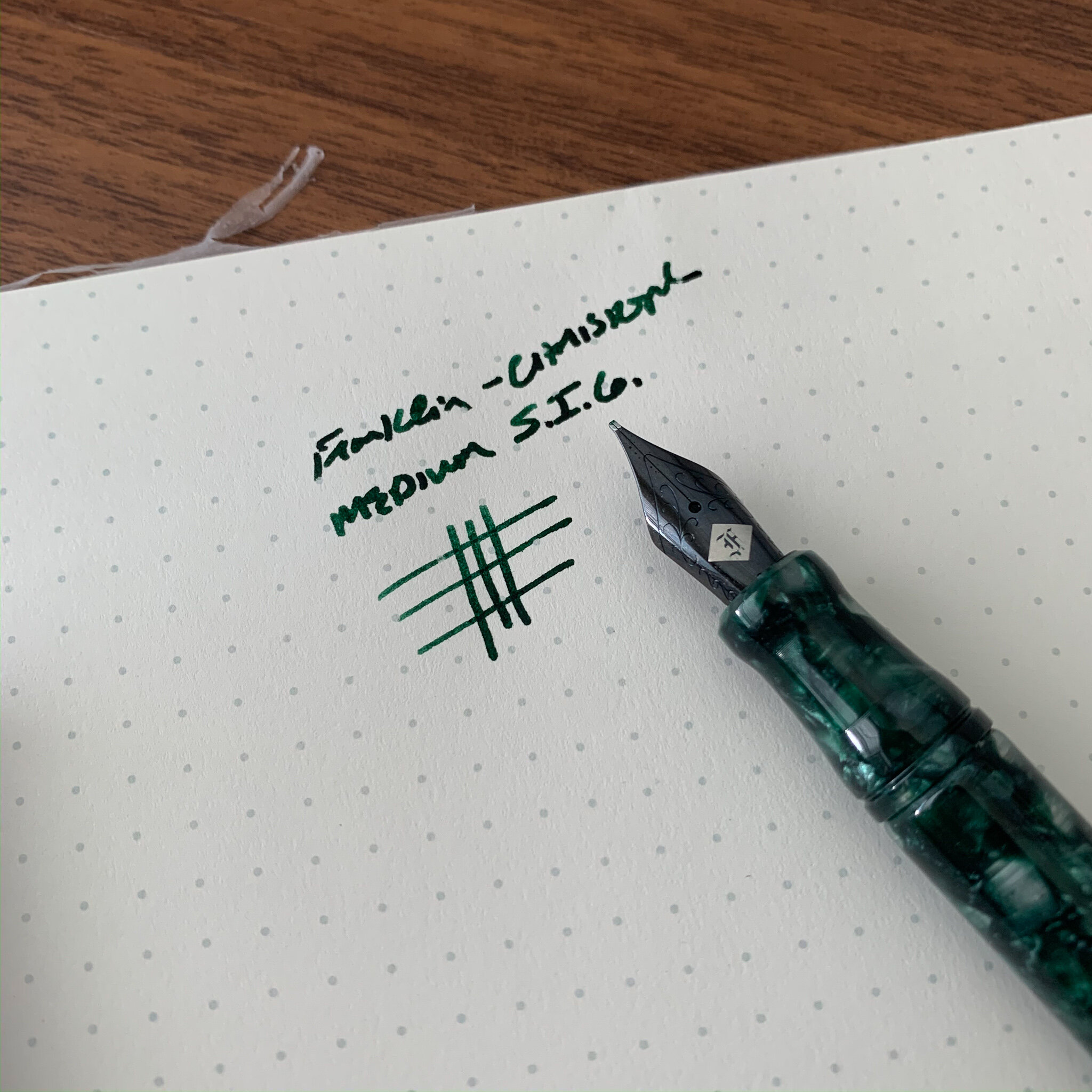 "On my Model 20 in ""Winter Pine"" that I acquired at this year's D.C. Pen Show, I opted for a medium S.I.G. in the ""Shadow"" nib. It looks great and Audrey did an exceptional job tuning. This pen has the potential to become a favorite!"