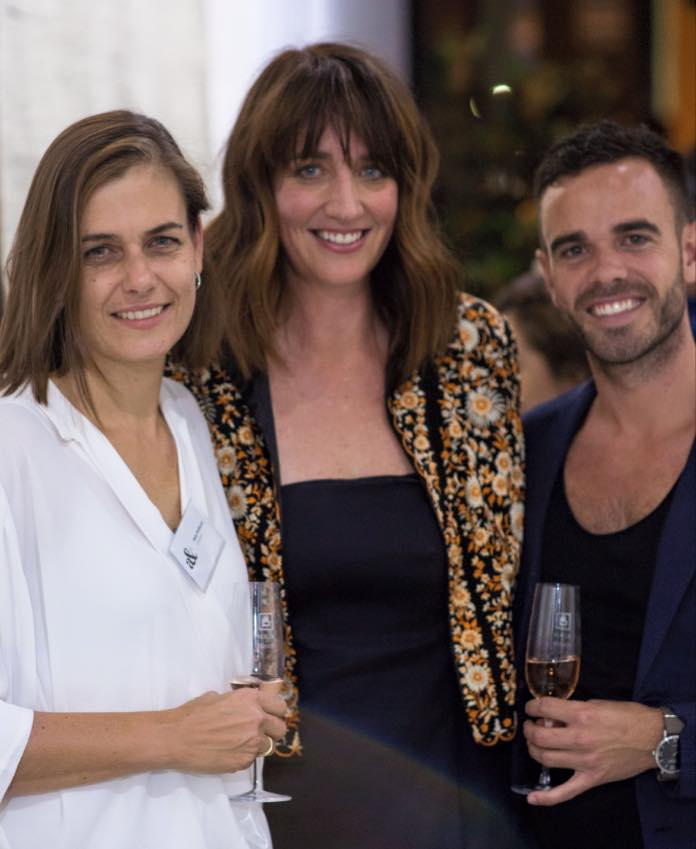 Sally Pottharst from Armadillo & Co and stylist Megan Morton with Adam from Adam Robinson Design