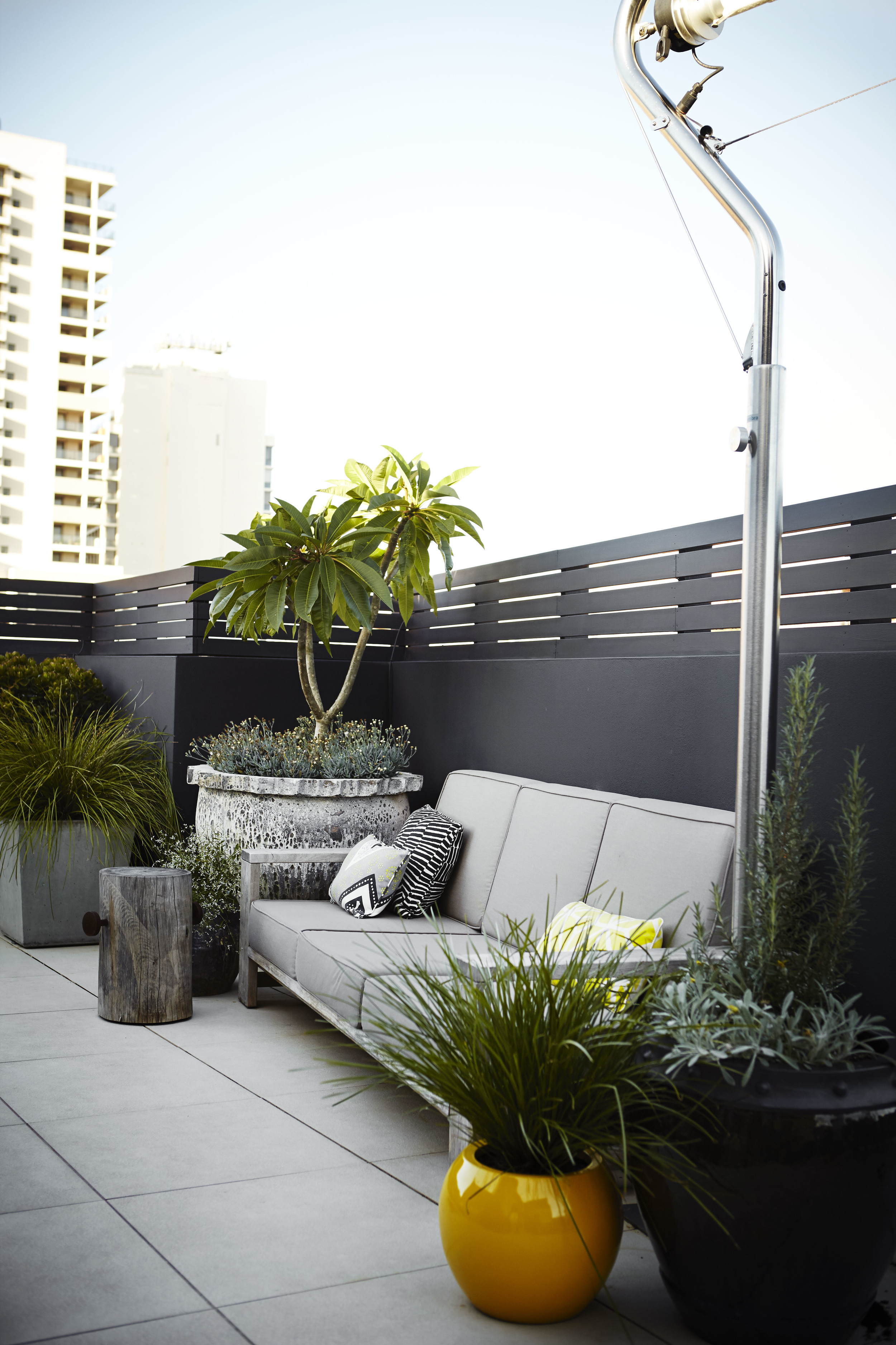 also from our Redfern Rooftop, an outdoor lounge retreat is made cosy and inviting with a feature pot, small tree and complimentary smaller items