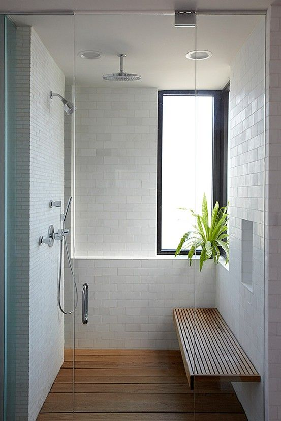 a plant in the shower is a nice touch, with easy access to water. Make sure you choose a plant that can withstand warmer temps. image source pinterest.com/ipulledthatlook