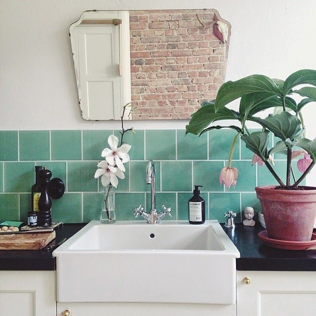 keeping plants near a water source will remind you to water them. image source pinterest.com/ipulledthatlook