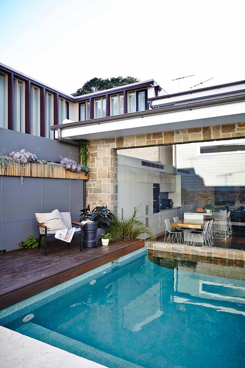 Three textures create a chic style at this pool from our Balmain Garden project. Image by Natalie Hunfalvay