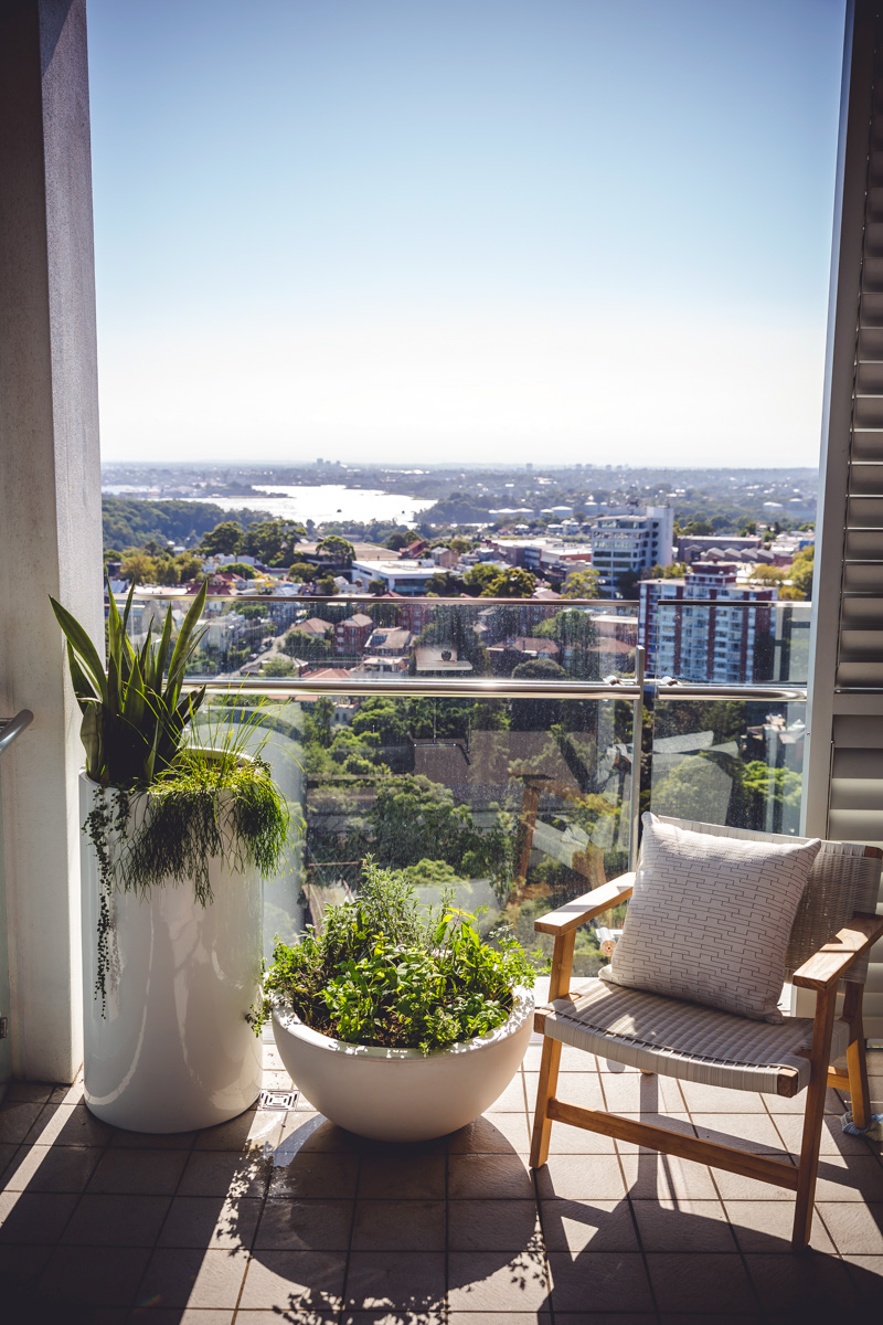 A clean and and light chair from our  Milsons Point Rooftop & Balcony Garden project