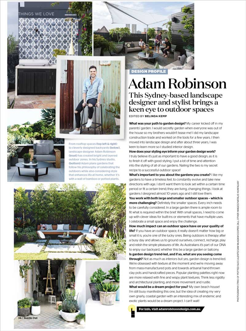 "INSIDE OUT MAGAZINE - ""Design Profile: Adam Robinson""Oct, 2017"