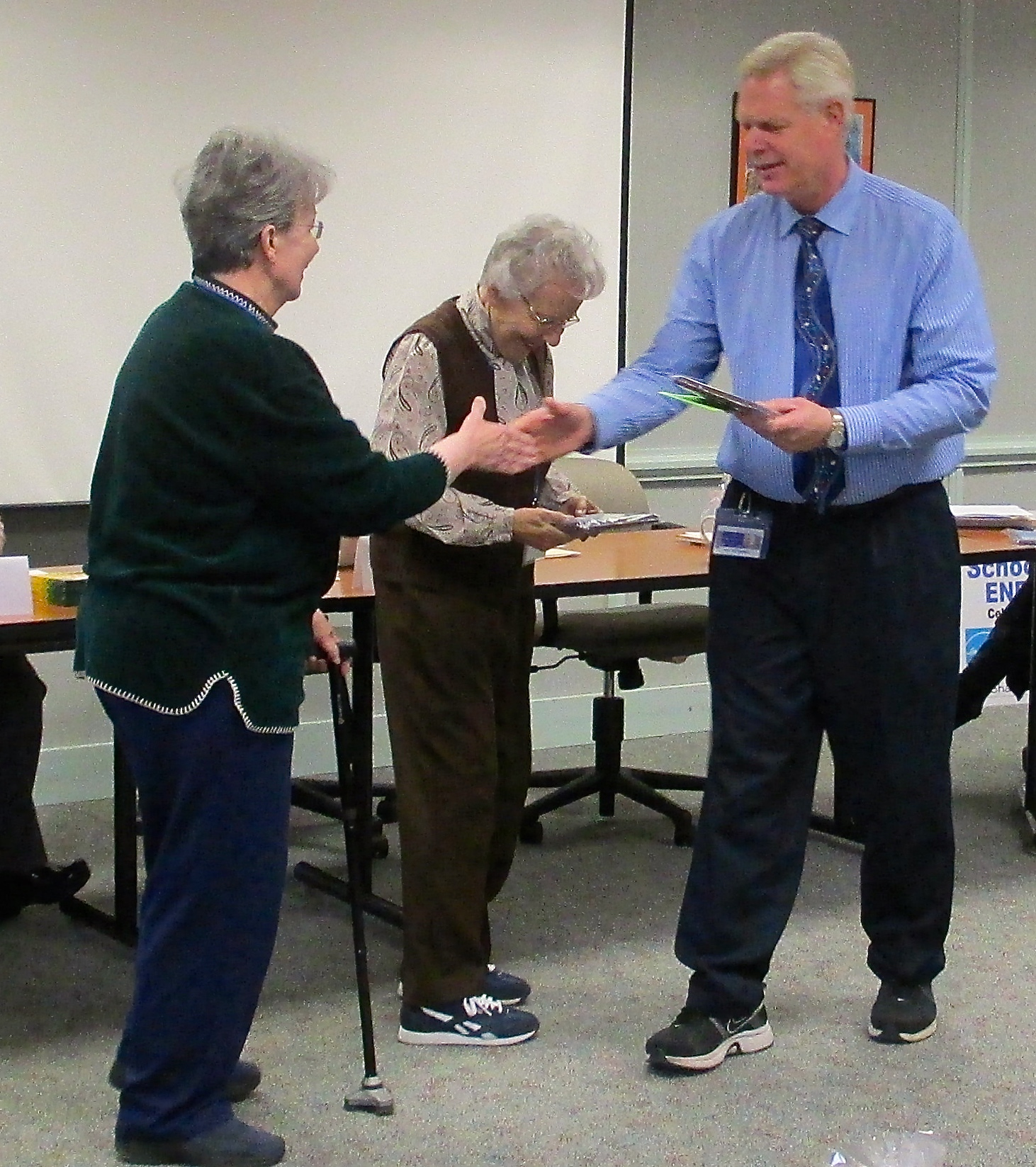 Lodi Elementary School volunteers receive their award! Pictured left-to-right: Judy Lichucki, Margot Myers & Lyle Hendrickson (Principal, Lodi Elementary School)