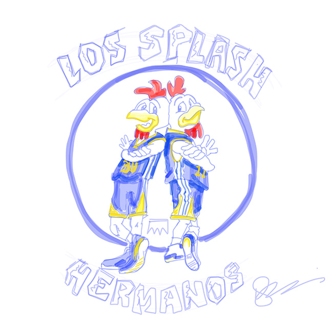 "Initial sketch for the UNDRCRWN ""LOS SPLASH HERMANOS"" Tee   Available only at www.UNDRCRWN.com"