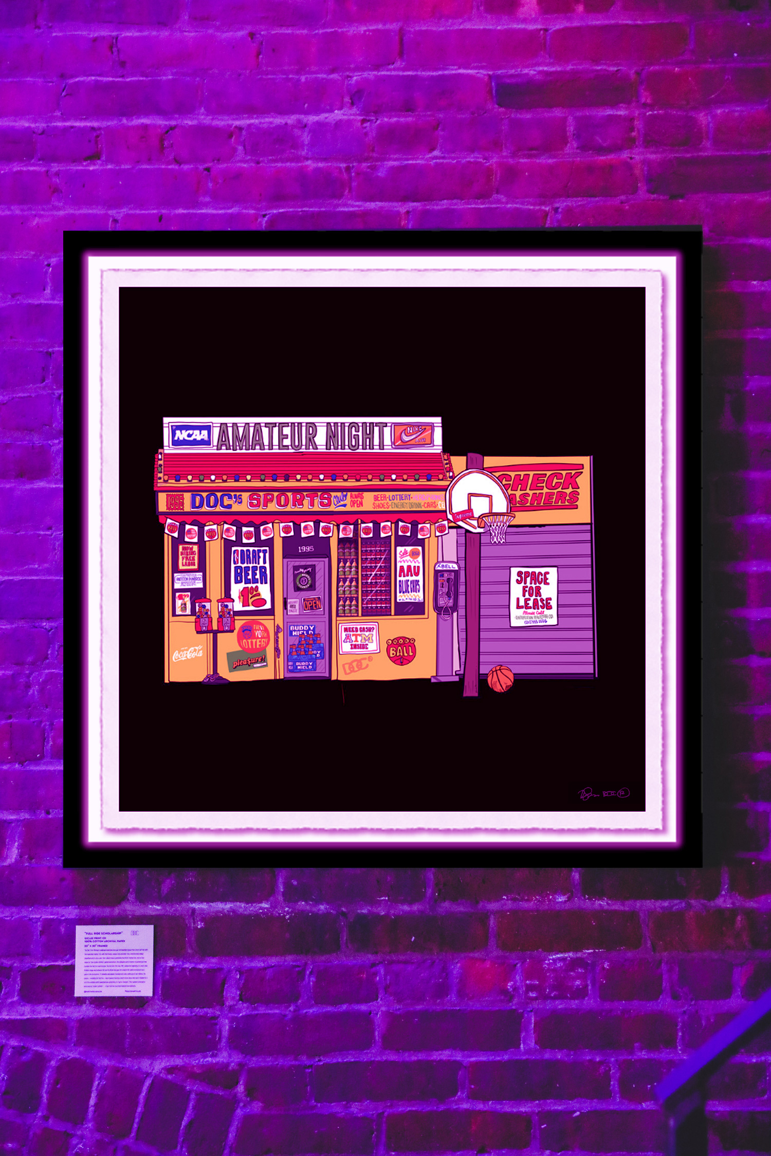 """""""AMATEUR NIGHT"""" - ///// Giclee print on 100% cotton archival paper- 30"""" x 30"""" FramedThe basketball business is a large one. Here it takes on a metaphorical approach, housed in a"""