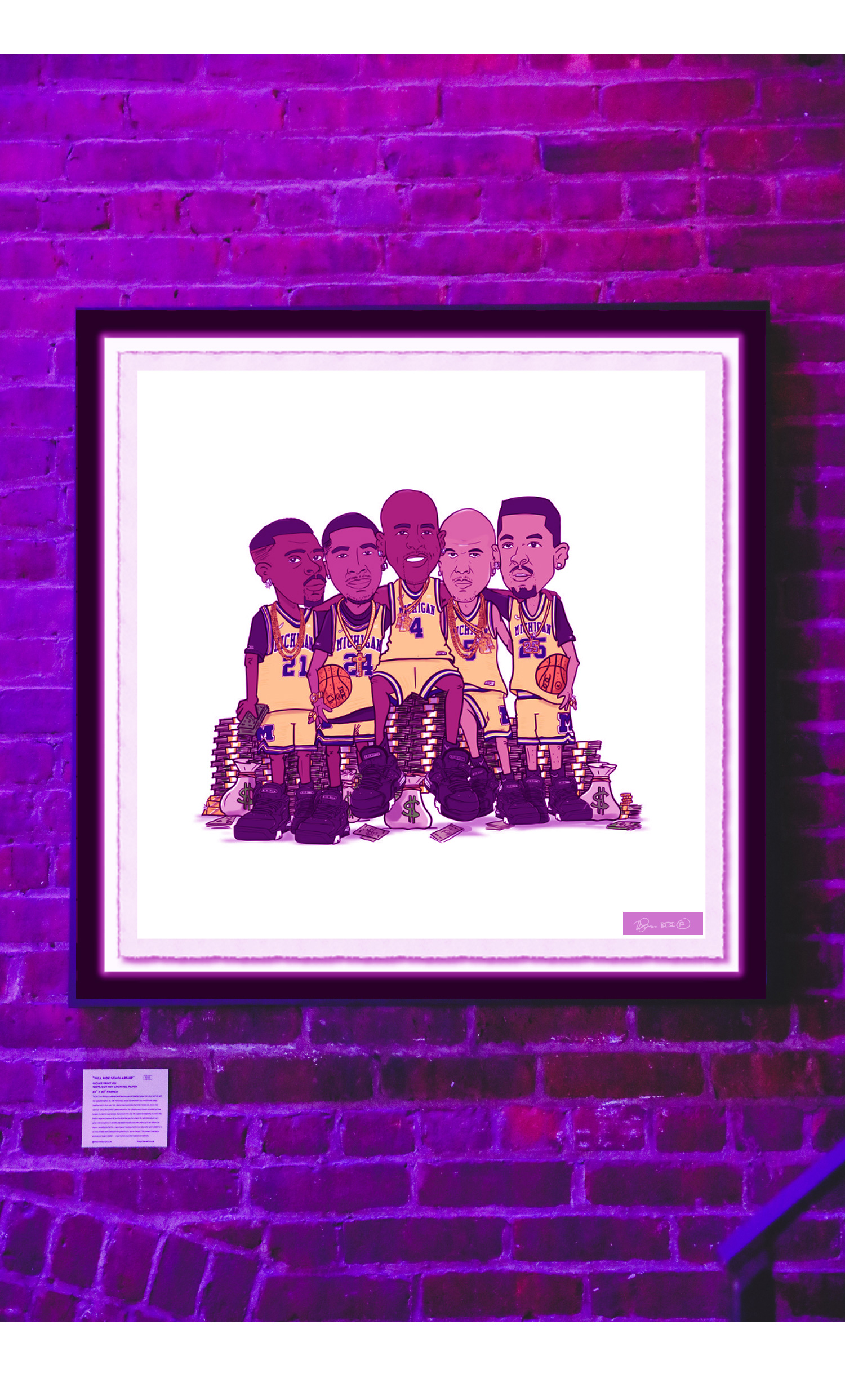 """""""FULL RIDE SCHOLARSHIP"""" - ///// Giclee print on 100% cotton archival paper- 30"""" x 30"""" framedThe Fab 5 from Michigan challenged what was once age-old basketball gospel that a team can't win with 5 newcomer starters. Yet, with their finesse, unique style and drive-they revolutionized college basketball and its dress code. Their cultural impact penetrated the NCAA's bottom line. And as their appeal as"""
