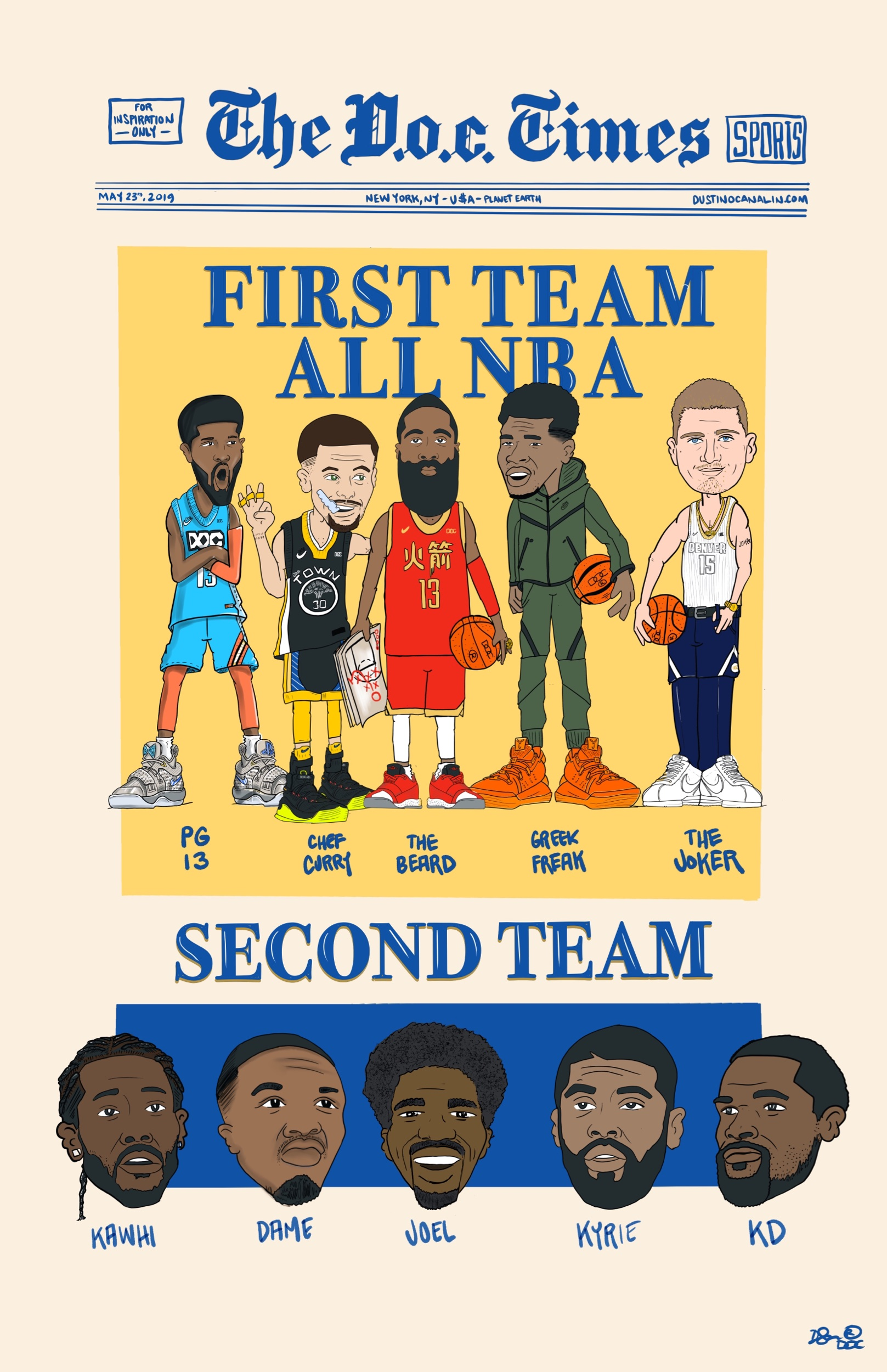 The All NBA Teams were announced and missing for the first time in a loooong time was Lebron James.   Milwaukee 's Antetokounmpo and  Oklahoma City 's George were named to the two forward spots on the first team;  Stephen Curry  of  Golden State  joined  Houston 's Harden as the guards; and  Denver Nuggets  center  Nikola Jokic  rounded out the first team.  The second team consists of  Damian Lillard  and  Kyrie Irving  at guard,  Kevin Durant  and  Kawhi Leonard  at forward and  Joel Embiid  at center.  Joining James on the third team are  Russell Westbrook  and  Kemba Walker  at guard,  Blake Griffin  at forward and  Rudy Gobert  at center.