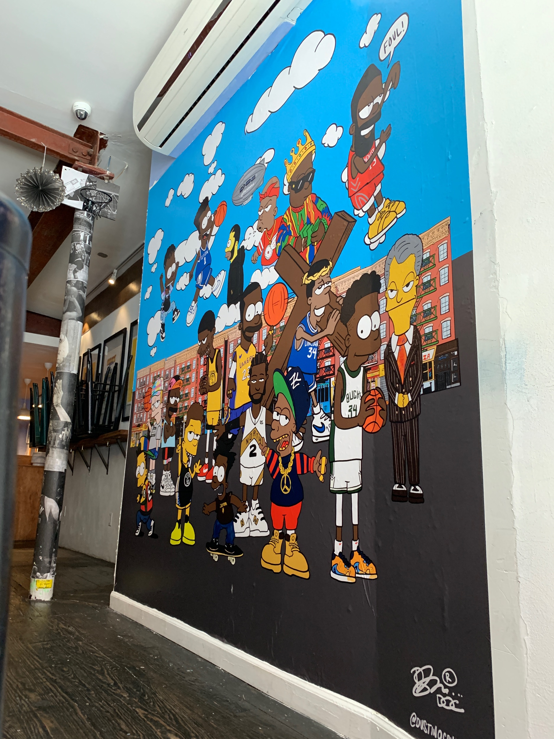 A new mural installed at  Boys Don't Cry  in NY, in honor of The NBA Finals. As in all of my work, a level of detail and authenticity is what inspired the latest work. Located on The Lower East Side's iconic Orchard St. I wanted to make sure that I was able to convey the neighborhood, the people, shops and culture that presided before today. See how many people you can identify.  Also be sure to check out the other NBA Finals inspired works are also on display throughout The summer.