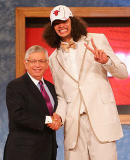 Jokim Noah Draft Suit with David Stern