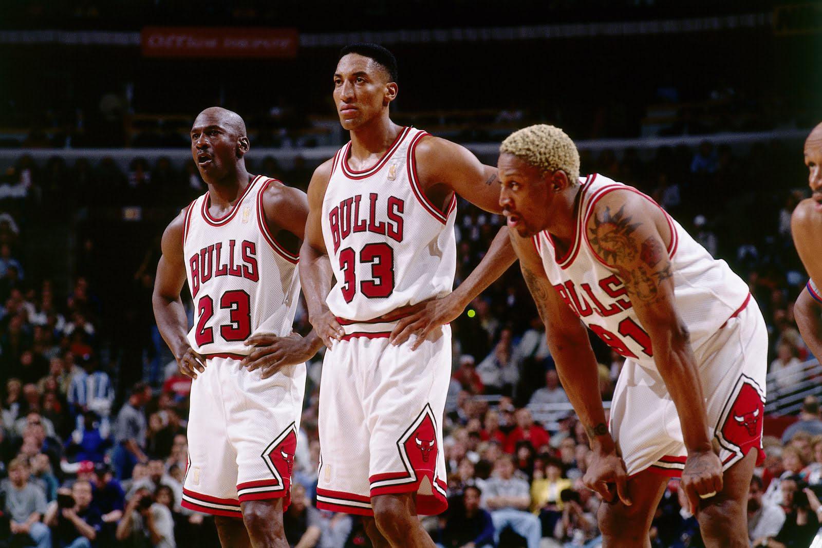 Michael Jordan, Scottie Pippen and Dennis Rodman of the Chicago Bulls in Chicago, 1997.jpg