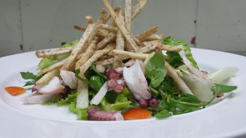 Poached Octopus, Crispy Taro, Baby Watercress Salad